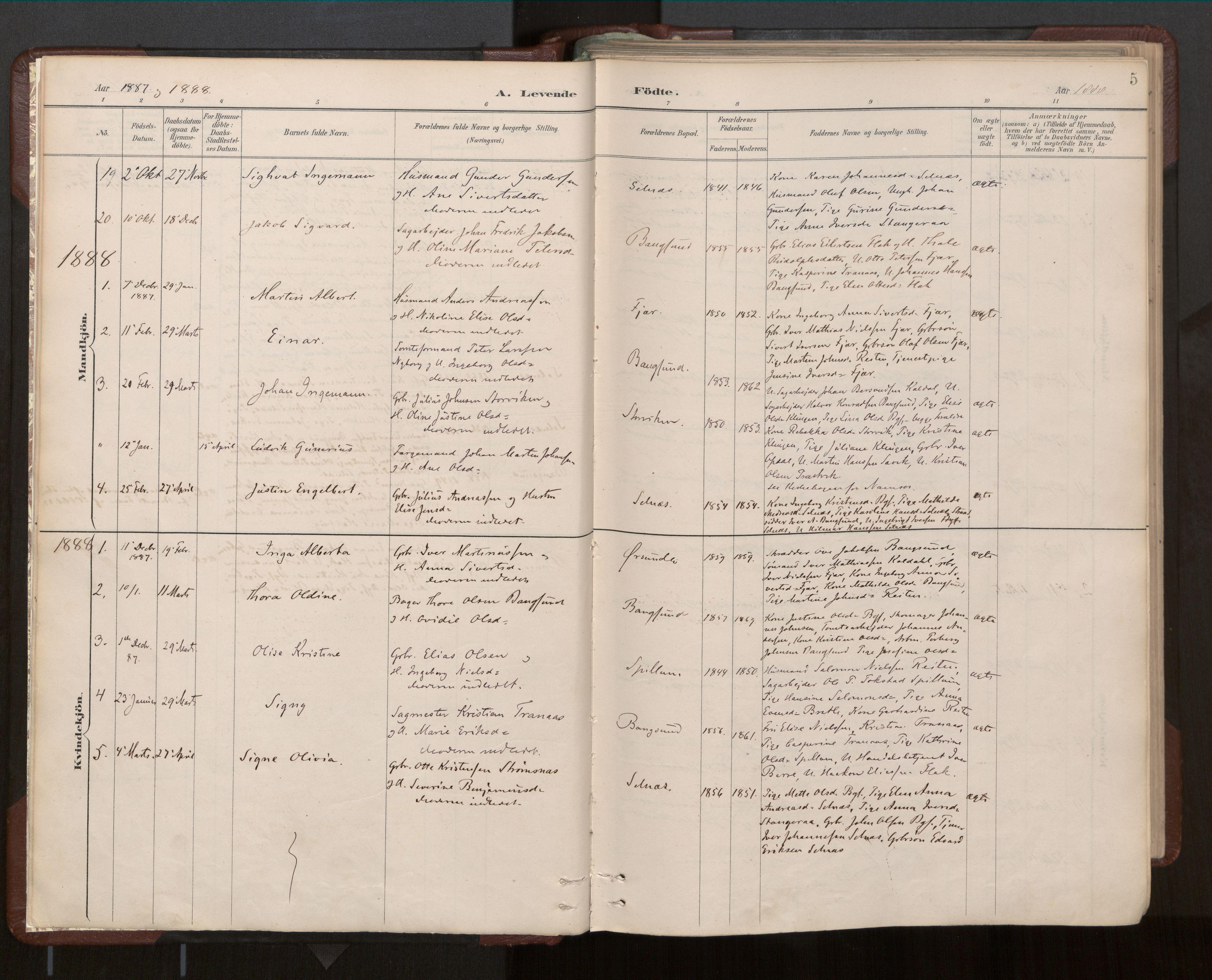 SAT, Ministerialprotokoller, klokkerbøker og fødselsregistre - Nord-Trøndelag, 770/L0589: Ministerialbok nr. 770A03, 1887-1929, s. 5