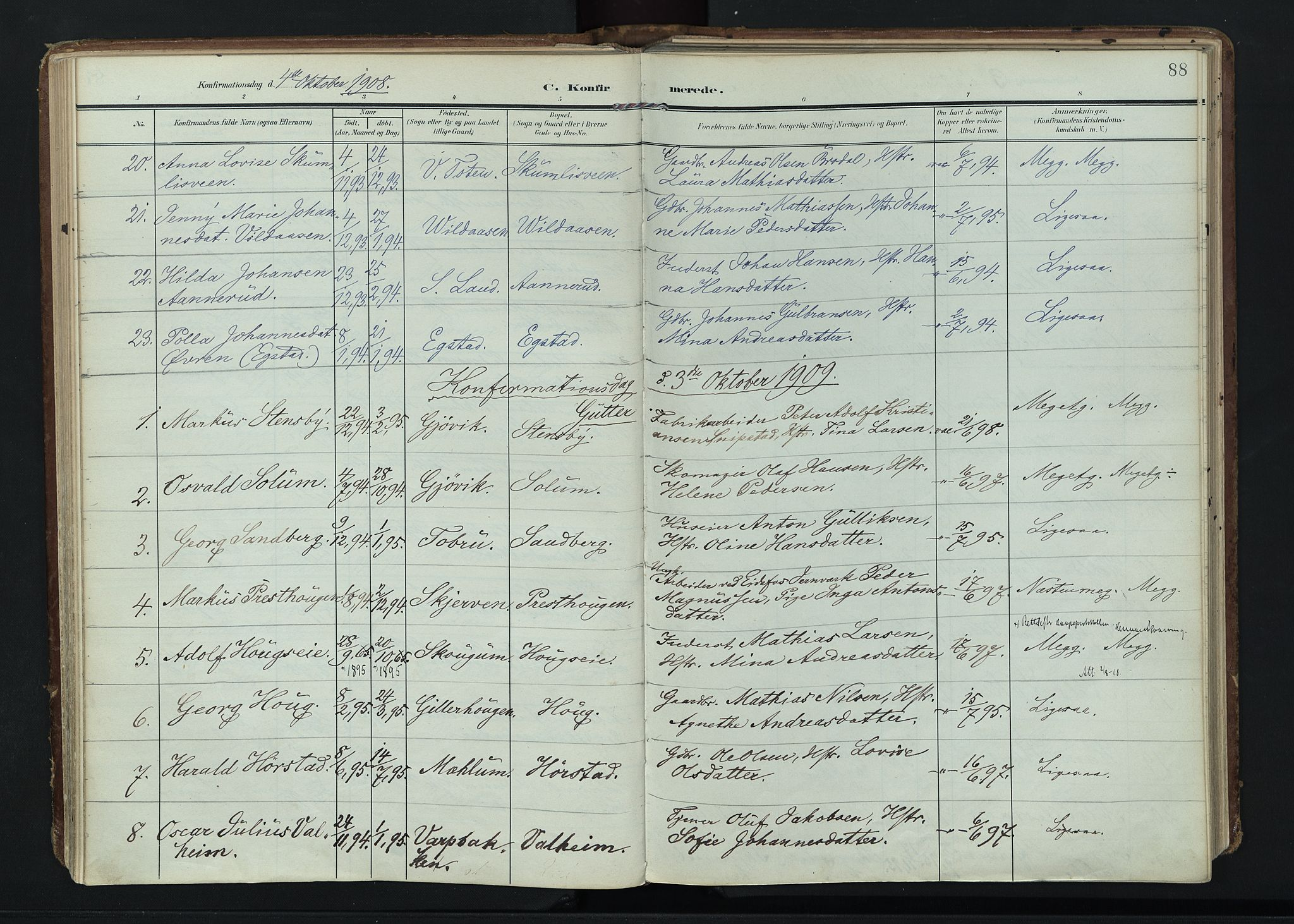SAH, Vardal prestekontor, H/Ha/Haa/L0020: Ministerialbok nr. 20, 1907-1921, s. 88