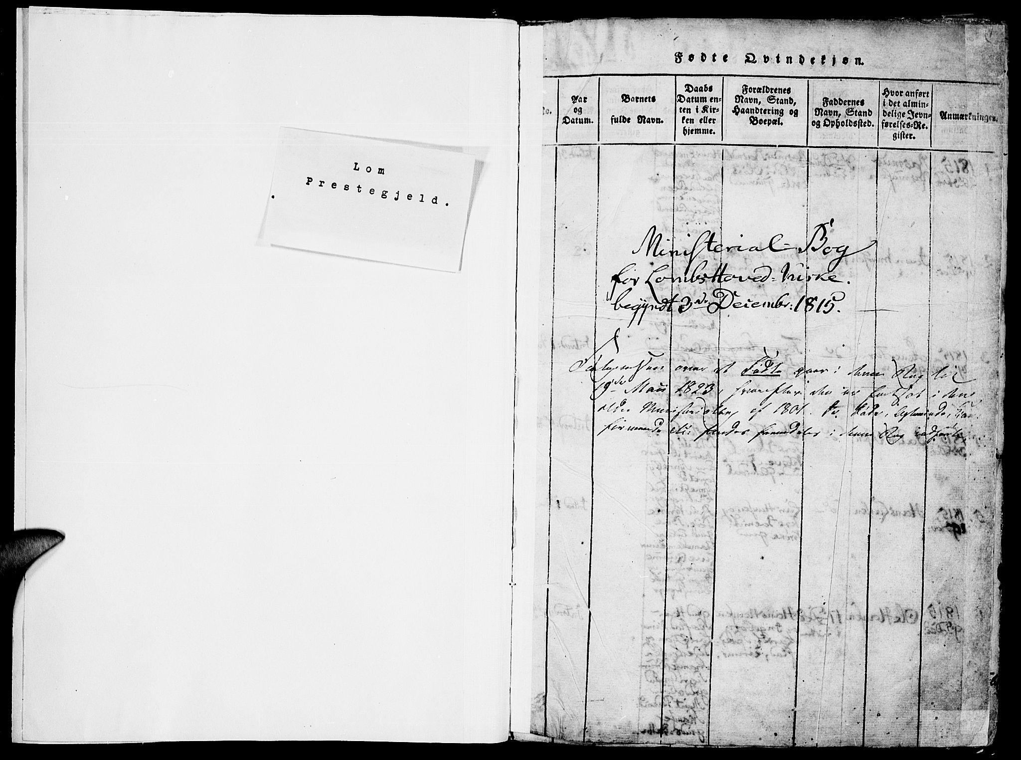 SAH, Lom prestekontor, K/L0004: Ministerialbok nr. 4, 1815-1825, s. 1