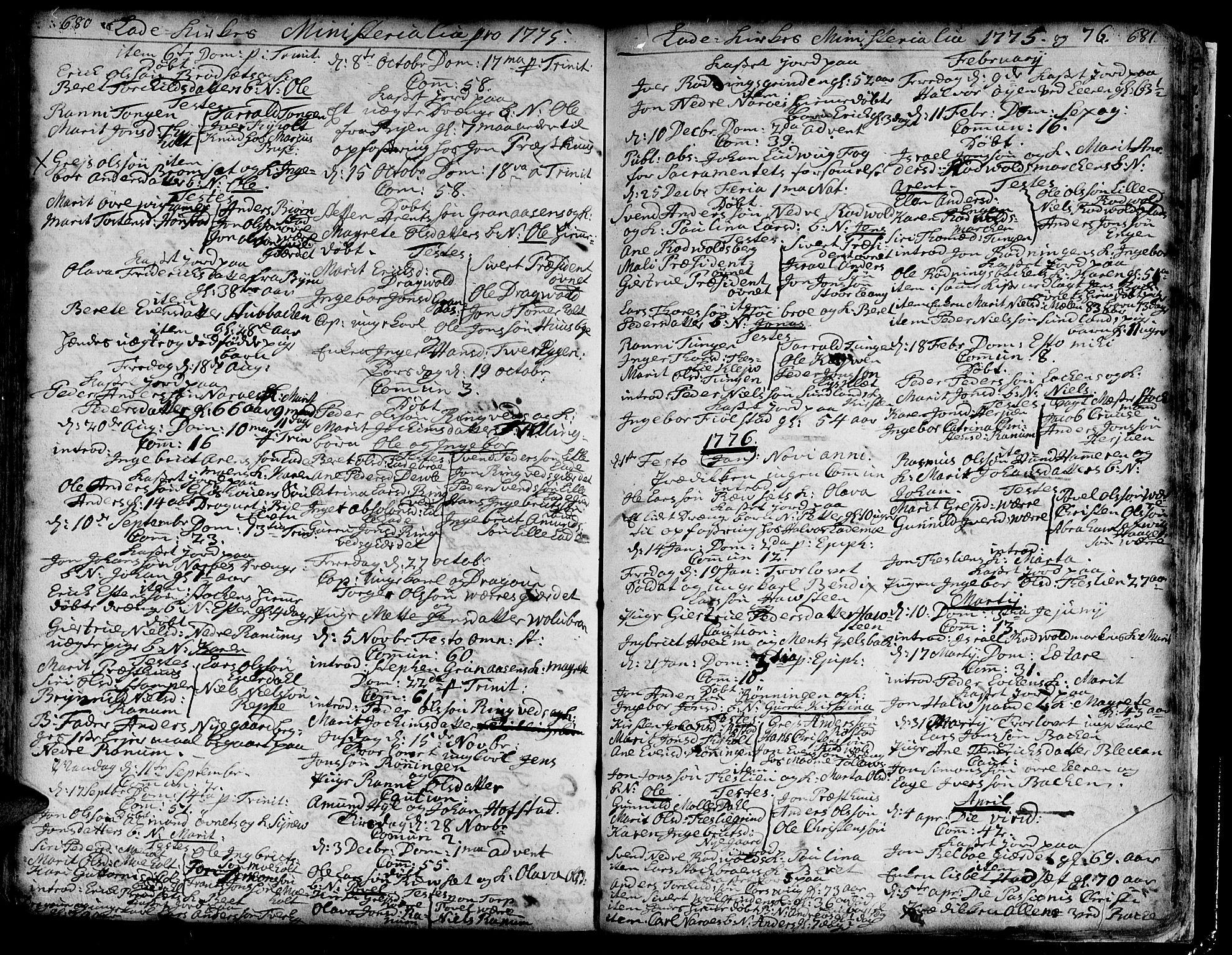 SAT, Ministerialprotokoller, klokkerbøker og fødselsregistre - Sør-Trøndelag, 606/L0275: Ministerialbok nr. 606A01 /1, 1727-1780, s. 680-681