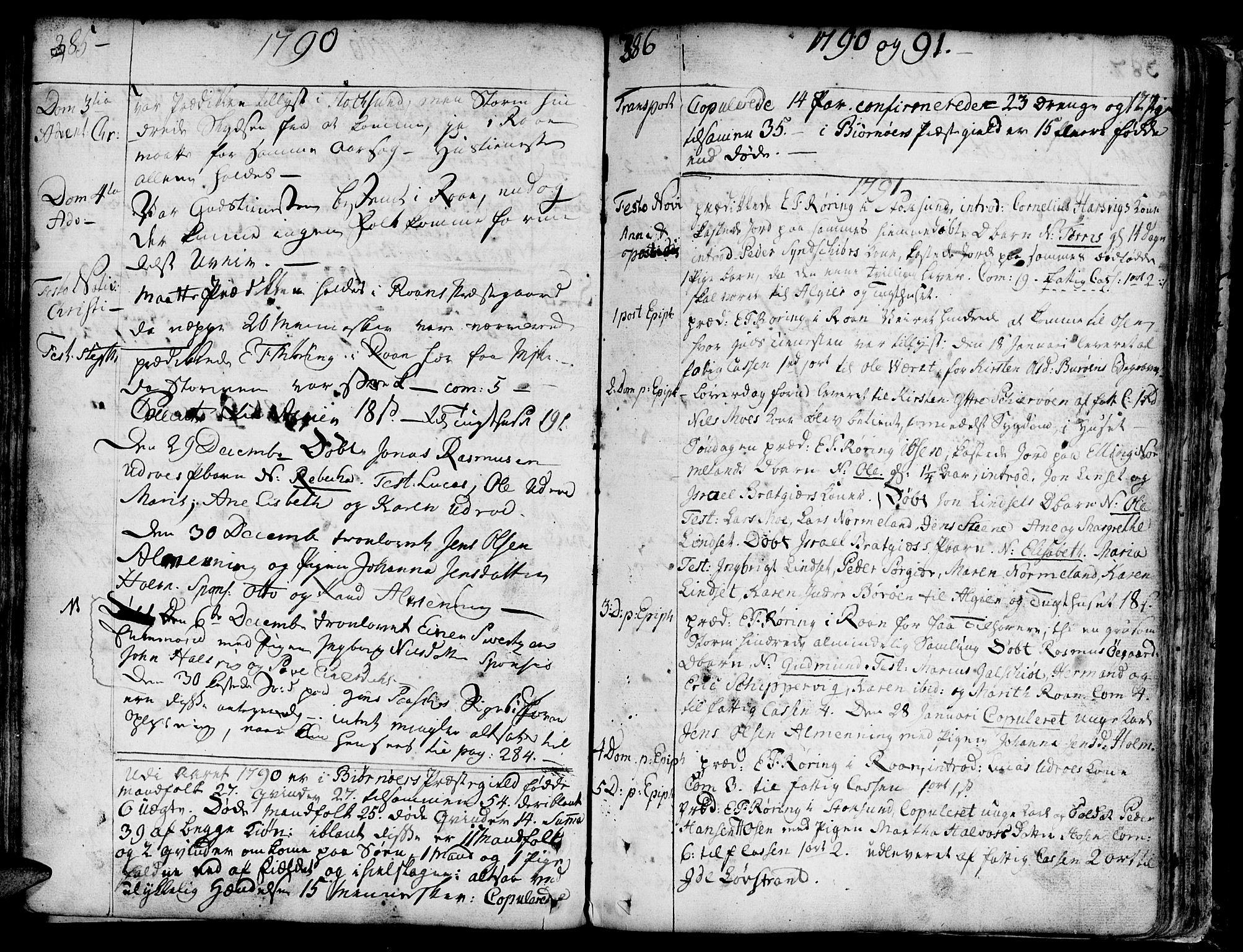 SAT, Ministerialprotokoller, klokkerbøker og fødselsregistre - Sør-Trøndelag, 657/L0700: Ministerialbok nr. 657A01, 1732-1801, s. 385-386