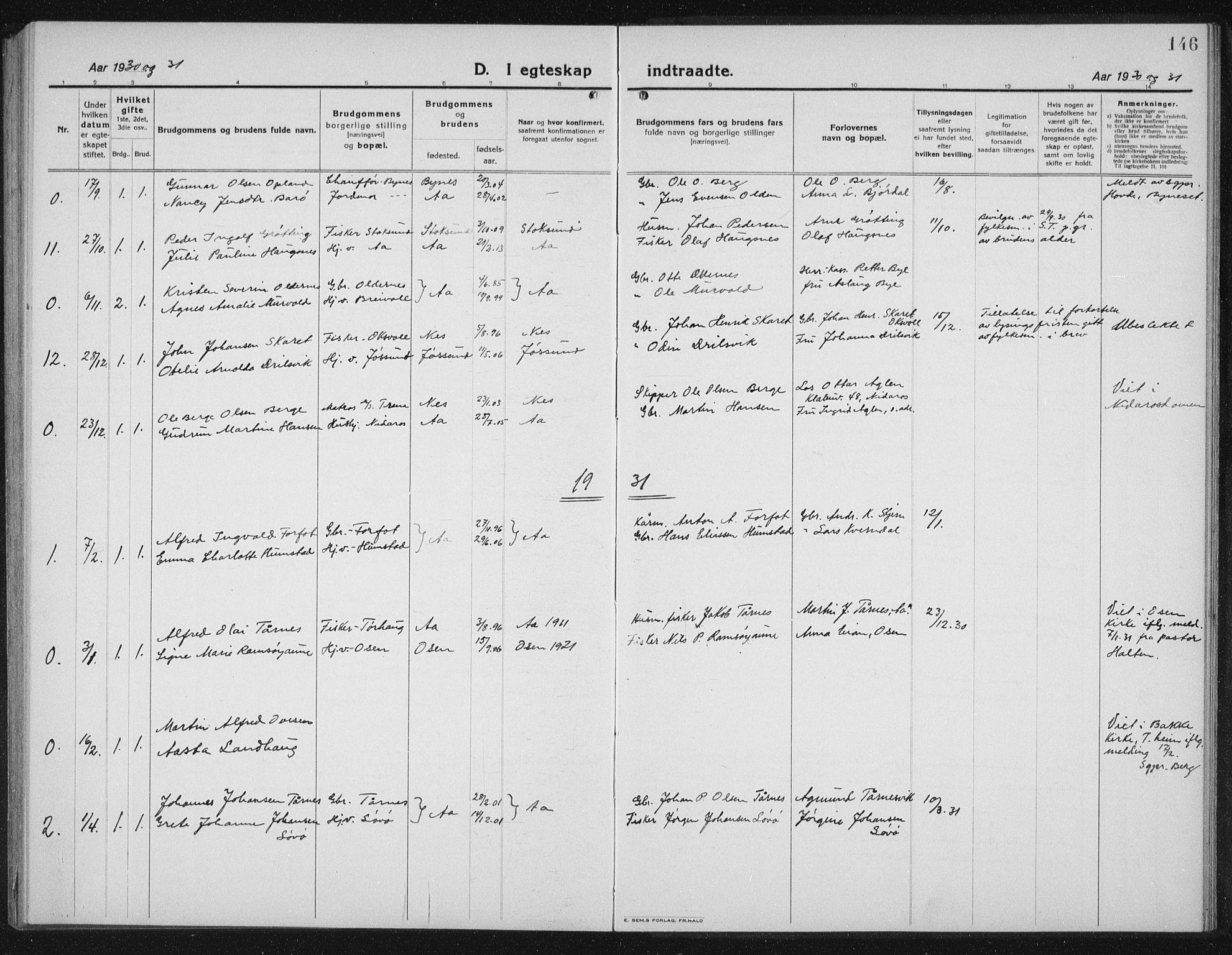 SAT, Ministerialprotokoller, klokkerbøker og fødselsregistre - Sør-Trøndelag, 655/L0689: Klokkerbok nr. 655C05, 1922-1936, s. 146