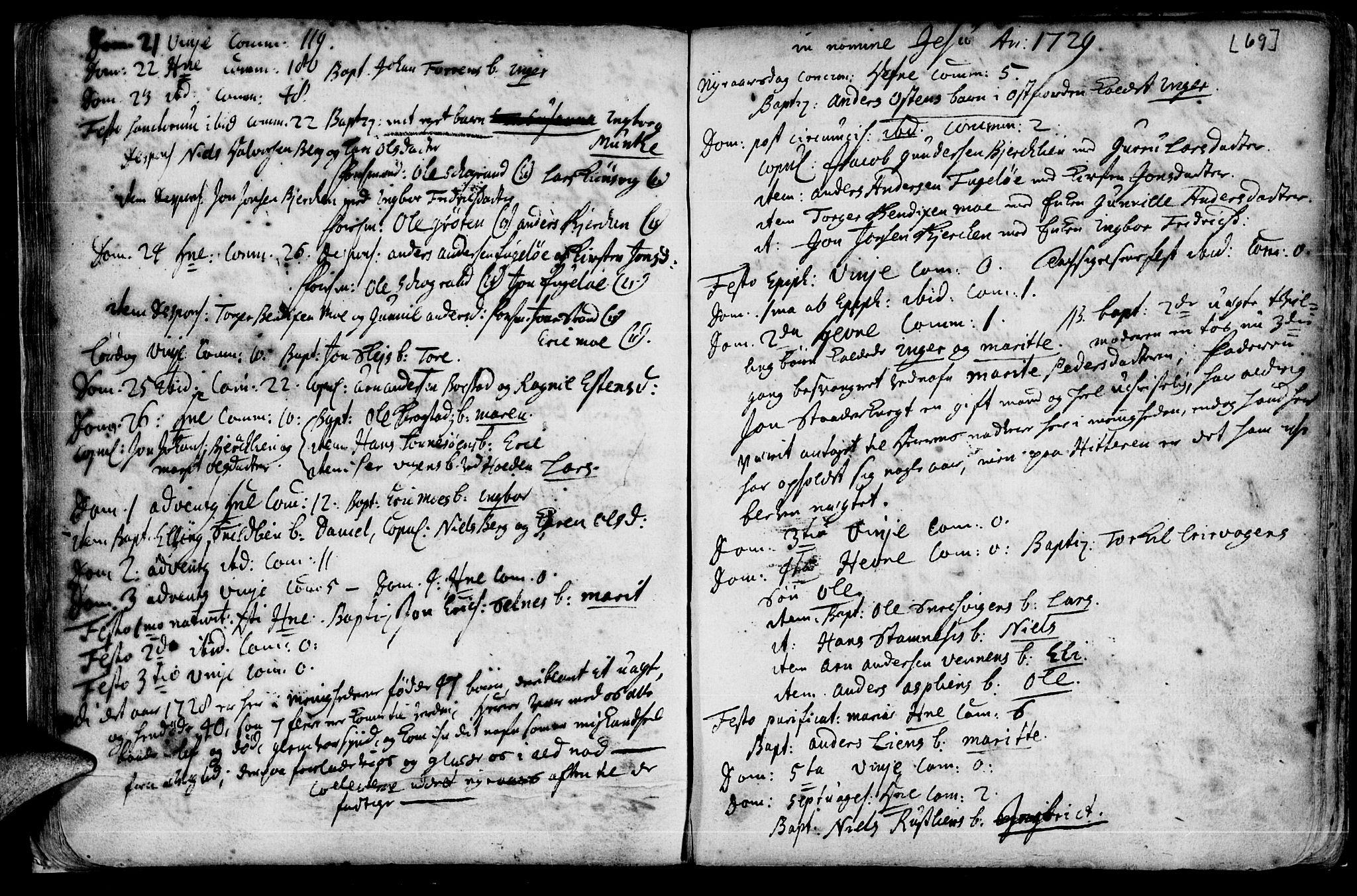 SAT, Ministerialprotokoller, klokkerbøker og fødselsregistre - Sør-Trøndelag, 630/L0488: Ministerialbok nr. 630A01, 1717-1756, s. 68-69