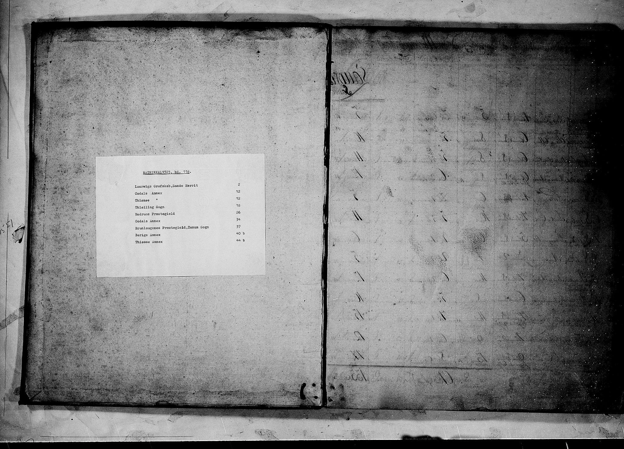 RA, Rentekammeret inntil 1814, Realistisk ordnet avdeling, N/Nb/Nbf/L0118: Larvik grevskap matrikkelprotokoll, 1723, s. upaginert