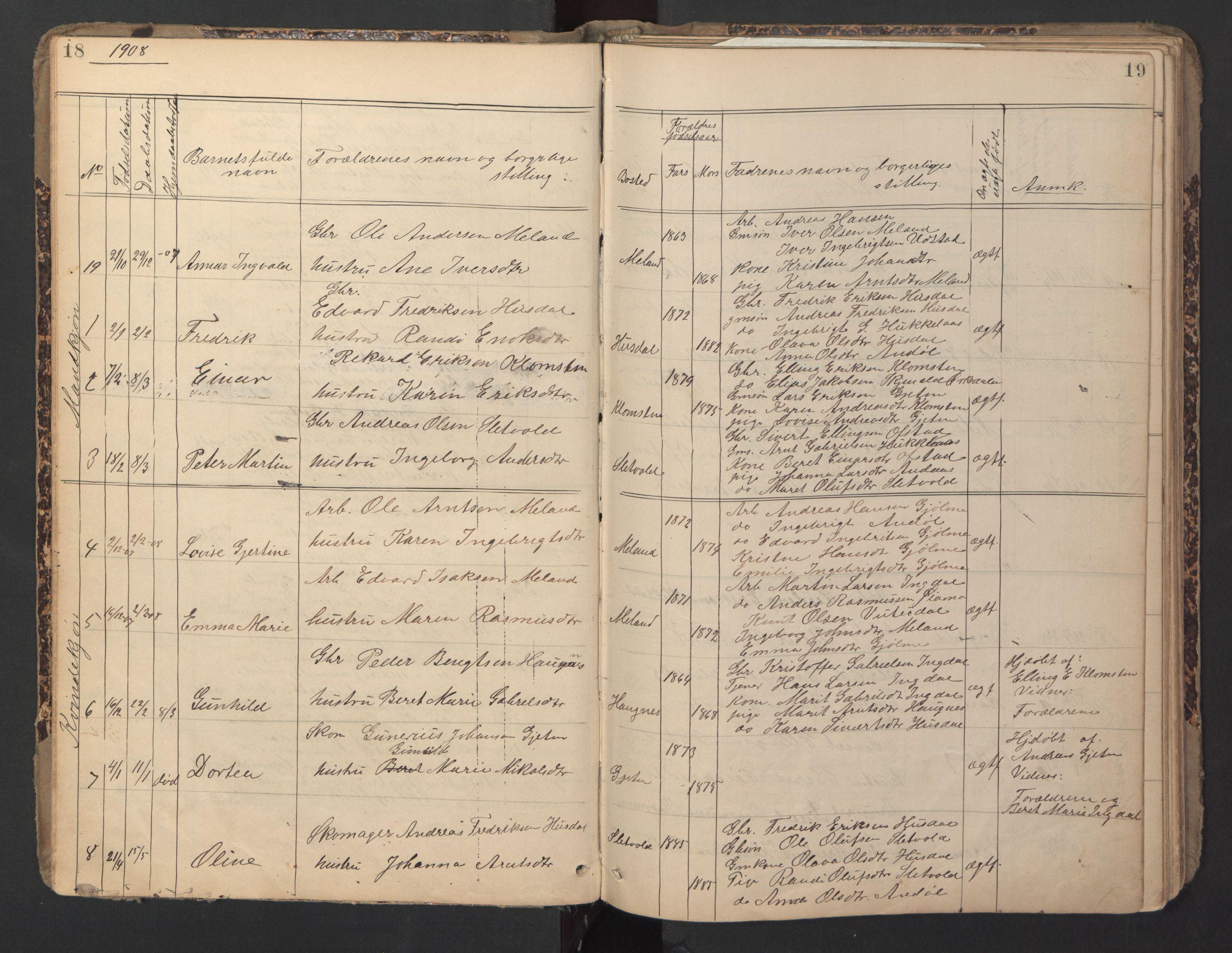 SAT, Ministerialprotokoller, klokkerbøker og fødselsregistre - Sør-Trøndelag, 670/L0837: Klokkerbok nr. 670C01, 1905-1946, s. 18-19