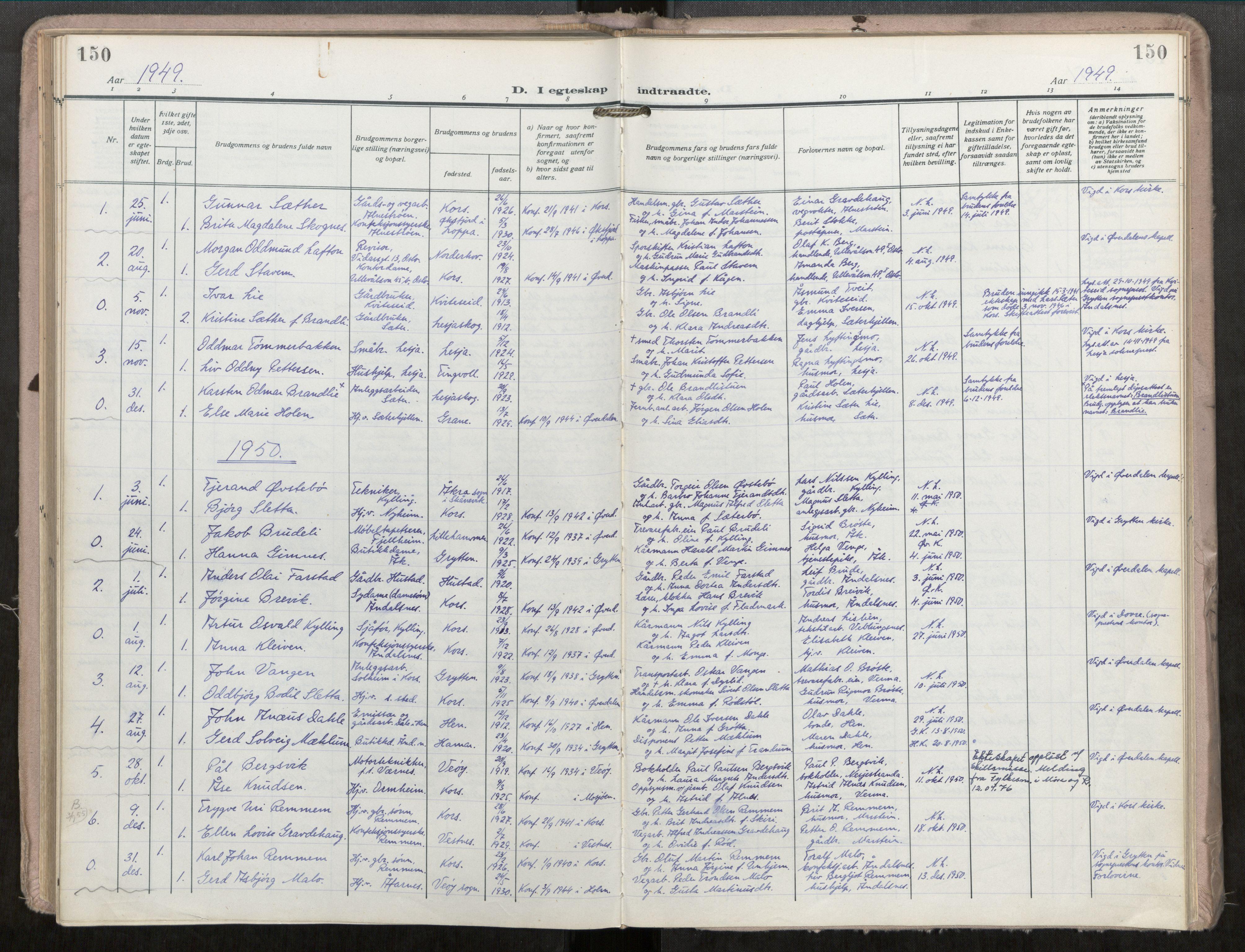 SAT, Grytten sokneprestkontor, Ministerialbok nr. 546A04, 1919-1956, s. 150