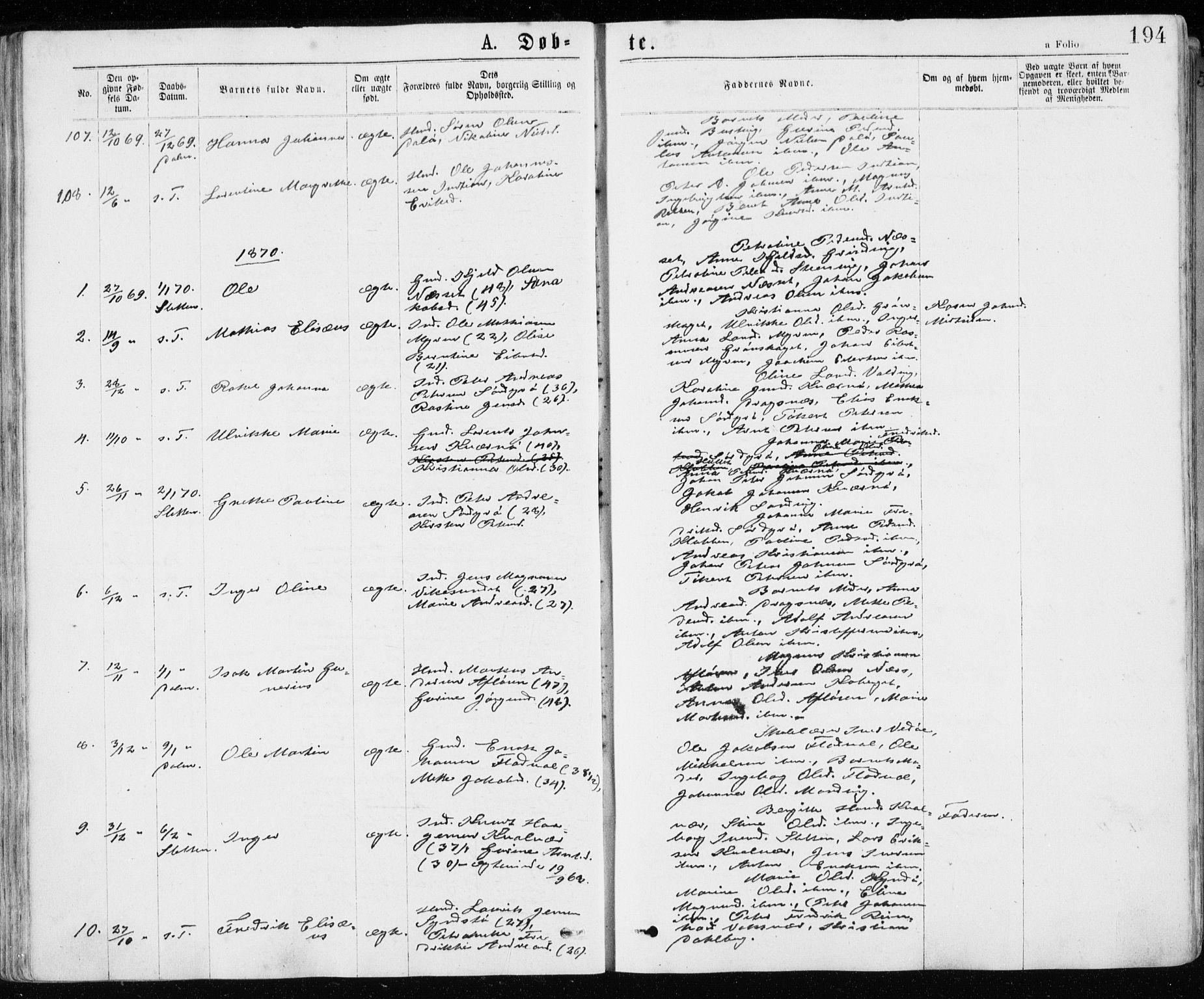 SAT, Ministerialprotokoller, klokkerbøker og fødselsregistre - Sør-Trøndelag, 640/L0576: Ministerialbok nr. 640A01, 1846-1876, s. 194