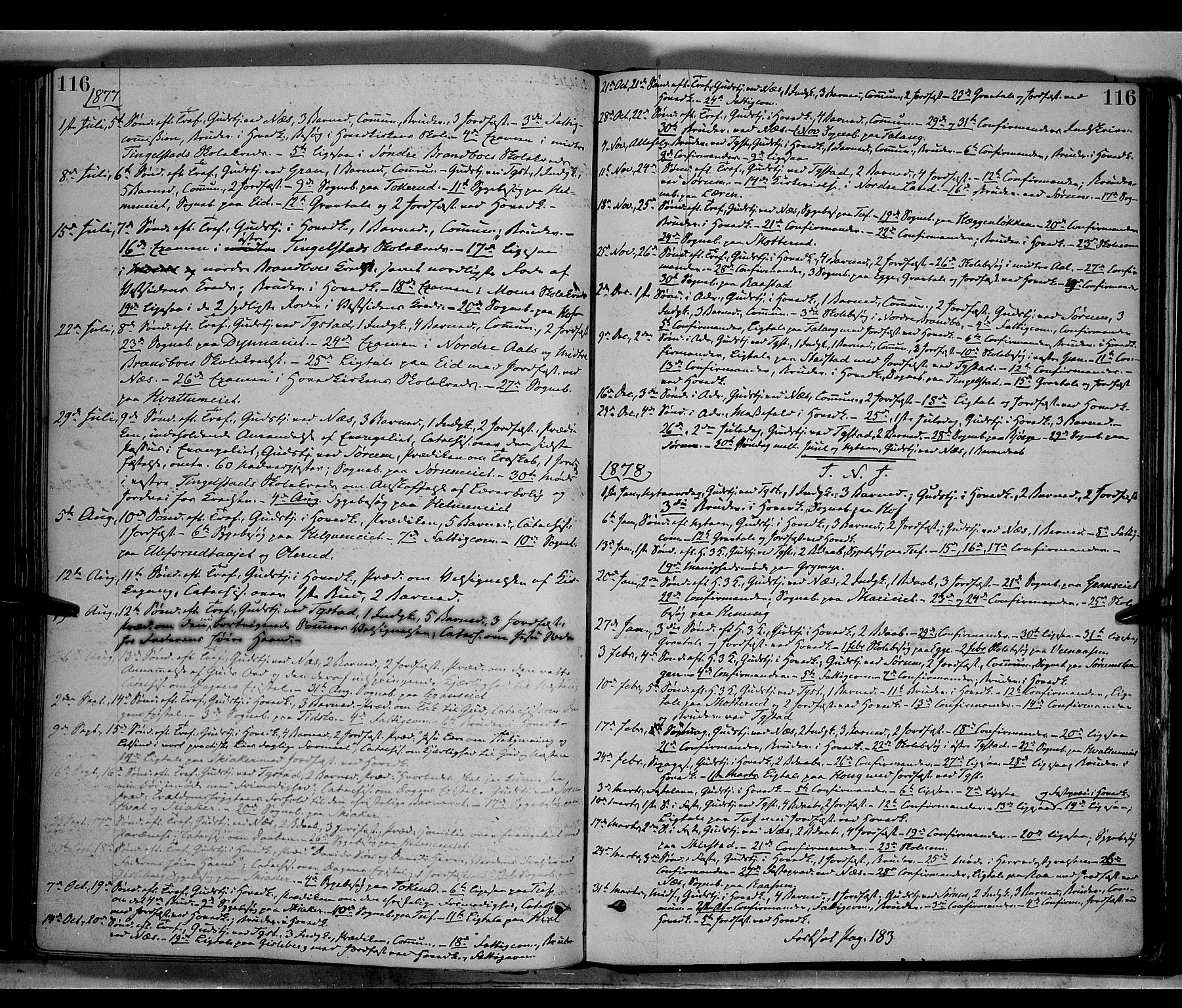 SAH, Gran prestekontor, Ministerialbok nr. 13, 1875-1879, s. 116