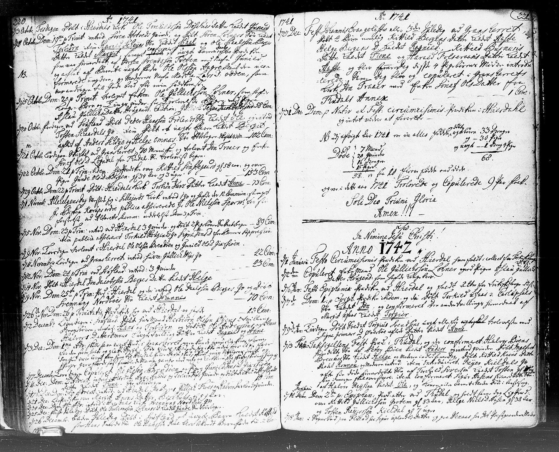 SAKO, Hjartdal kirkebøker, F/Fa/L0002: Ministerialbok nr. I 2, 1716-1754, s. 220-221