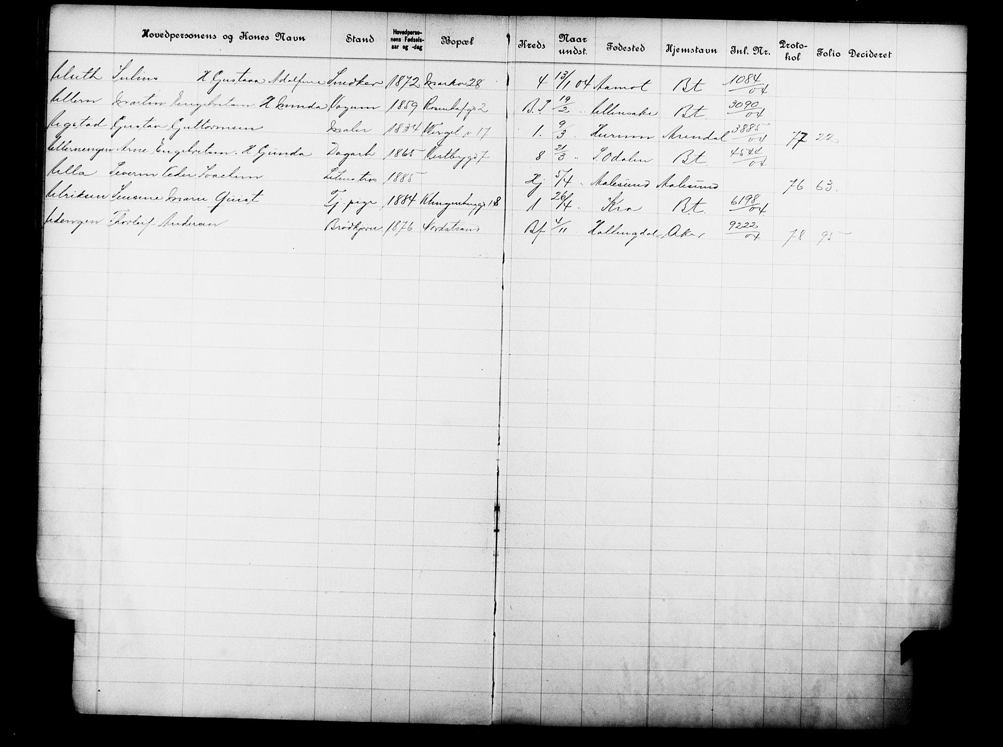 OBA, Fattigvesenet, Fb/L0023: Hjemstavnsregister, 1904, s. 209
