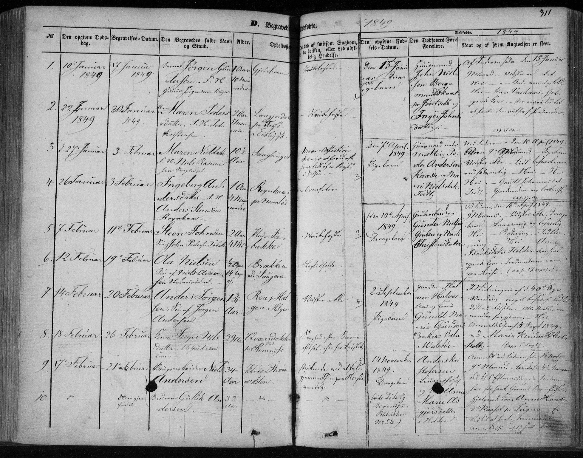 SAKO, Holla kirkebøker, F/Fa/L0005: Ministerialbok nr. 5, 1849-1860, s. 311