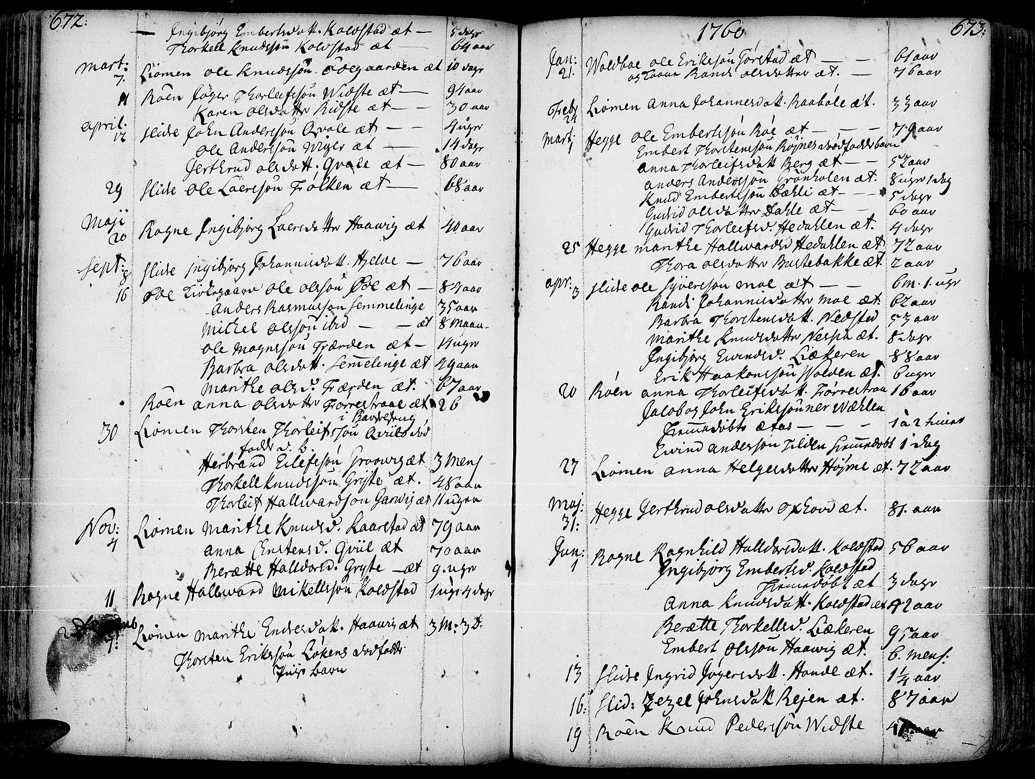 SAH, Slidre prestekontor, Ministerialbok nr. 1, 1724-1814, s. 672-673