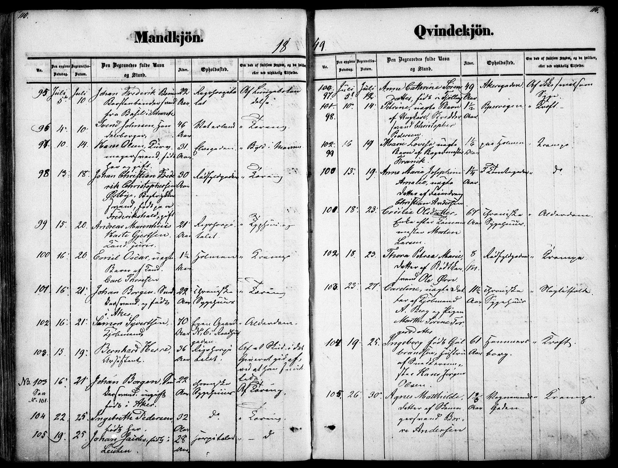 SAO, Oslo domkirke Kirkebøker, F/Fa/L0025: Ministerialbok nr. 25, 1847-1867, s. 115-116