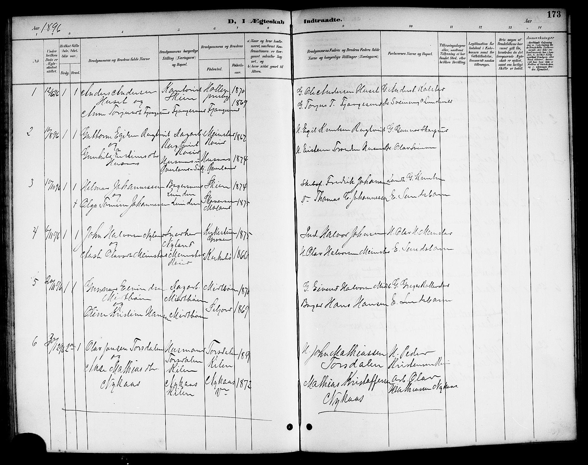 SAKO, Kviteseid kirkebøker, G/Ga/L0002: Klokkerbok nr. I 2, 1893-1918, s. 173