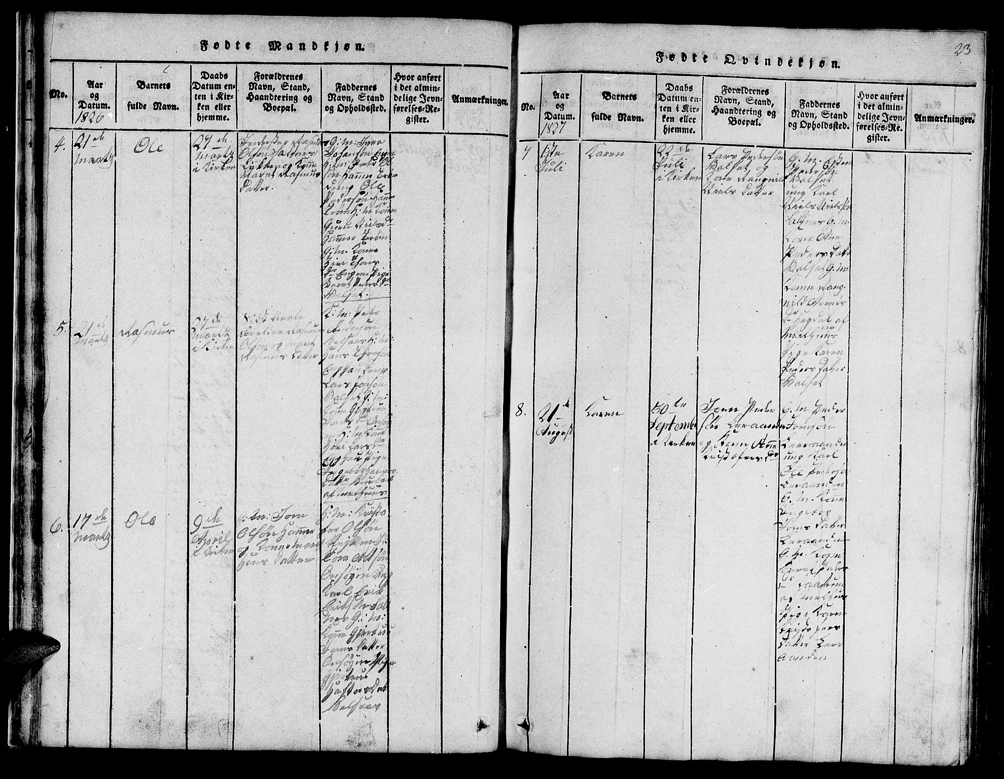 SAT, Ministerialprotokoller, klokkerbøker og fødselsregistre - Sør-Trøndelag, 666/L0788: Klokkerbok nr. 666C01, 1816-1847, s. 23