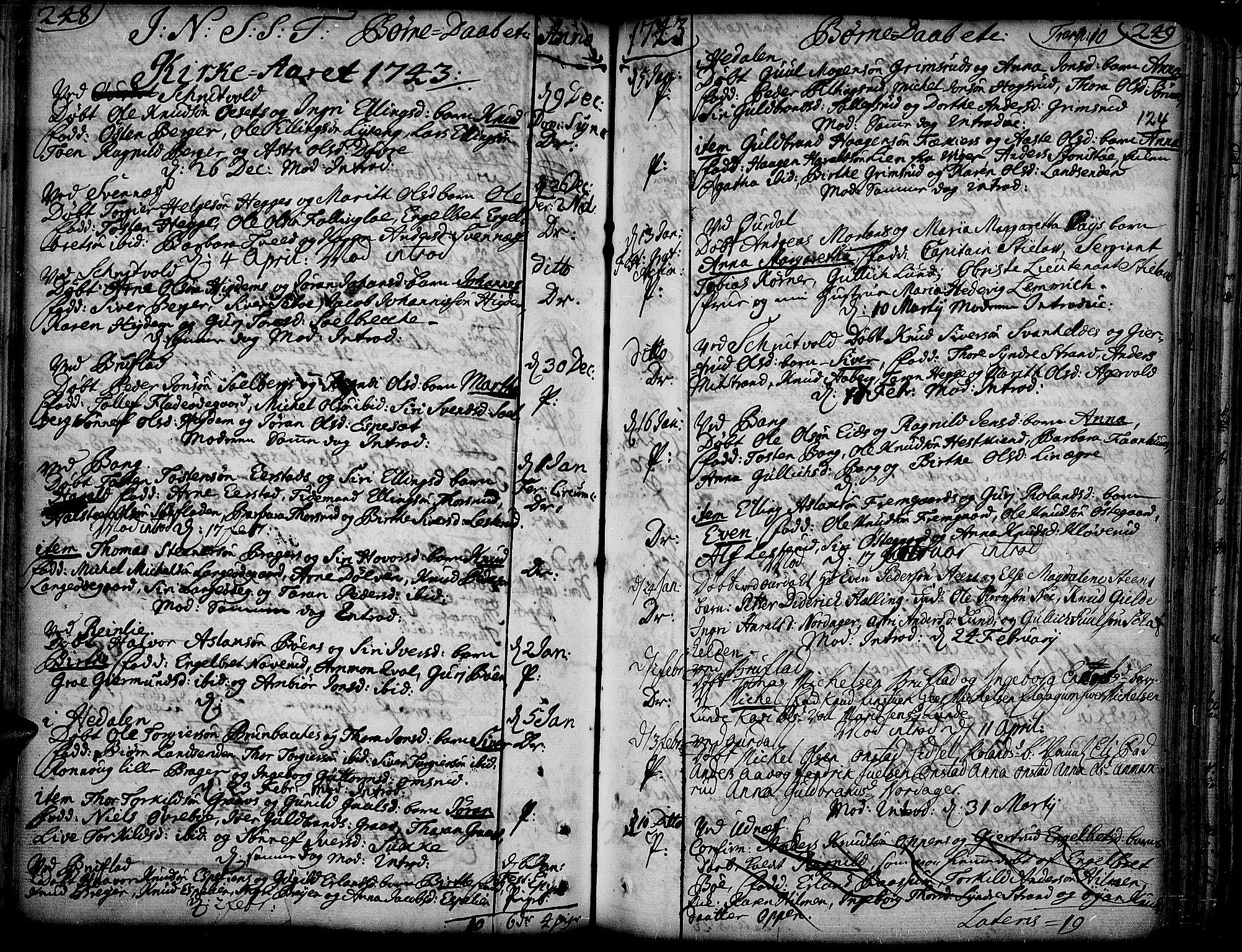 SAH, Aurdal prestekontor, Ministerialbok nr. 4, 1730-1762, s. 248-249