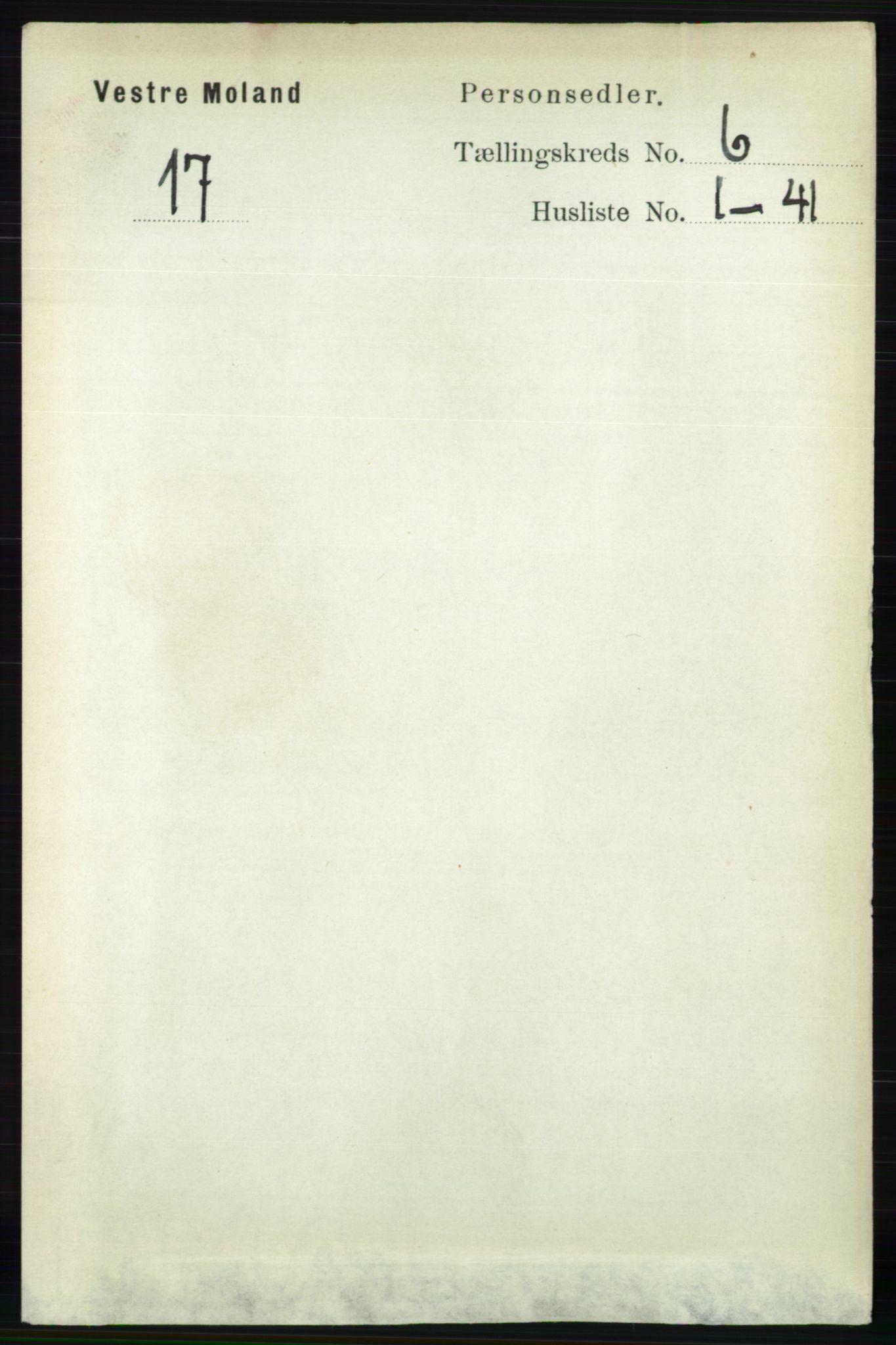 RA, Folketelling 1891 for 0926 Vestre Moland herred, 1891, s. 2350