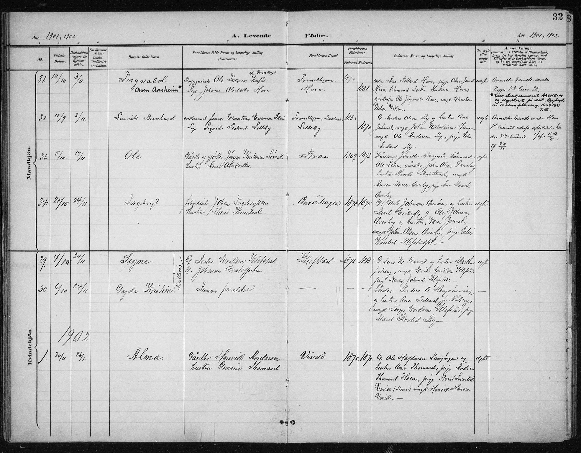 SAT, Ministerialprotokoller, klokkerbøker og fødselsregistre - Sør-Trøndelag, 612/L0380: Ministerialbok nr. 612A12, 1898-1907, s. 32