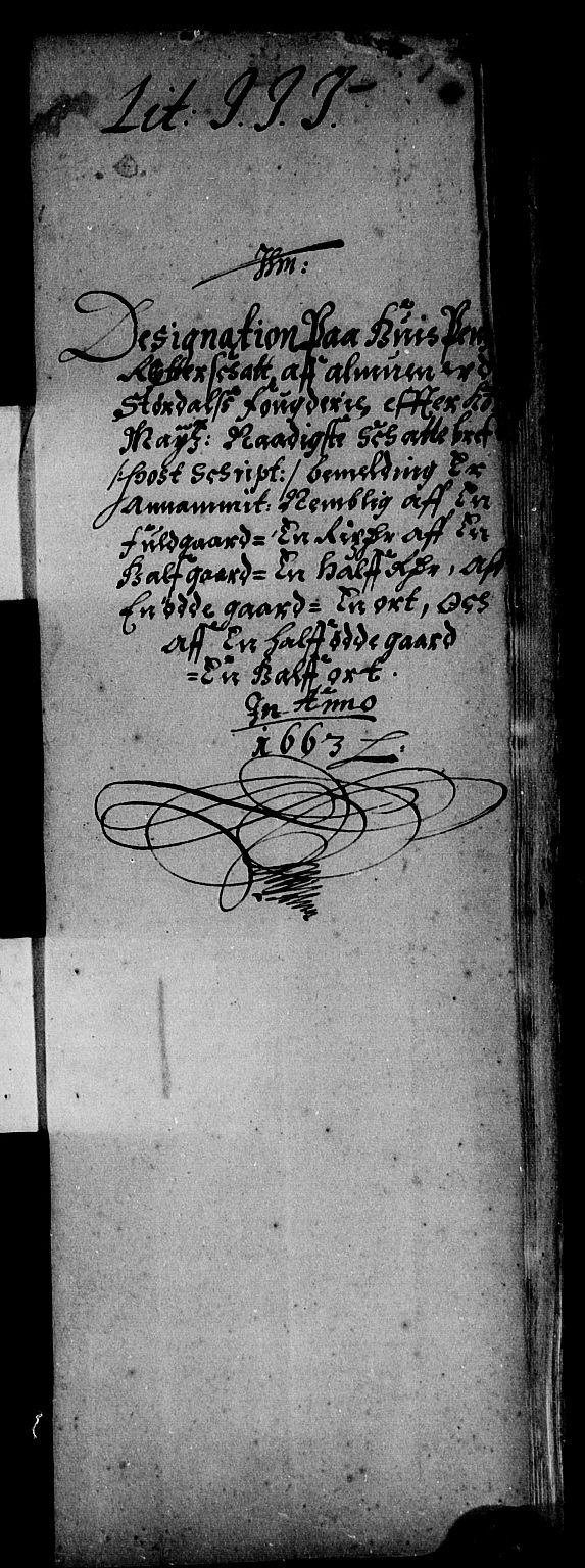 RA, Rentekammeret inntil 1814, Reviderte regnskaper, Stiftamtstueregnskaper, Trondheim stiftamt og Nordland amt, R/Rd/L0006: Trondheim stiftamt, 1663