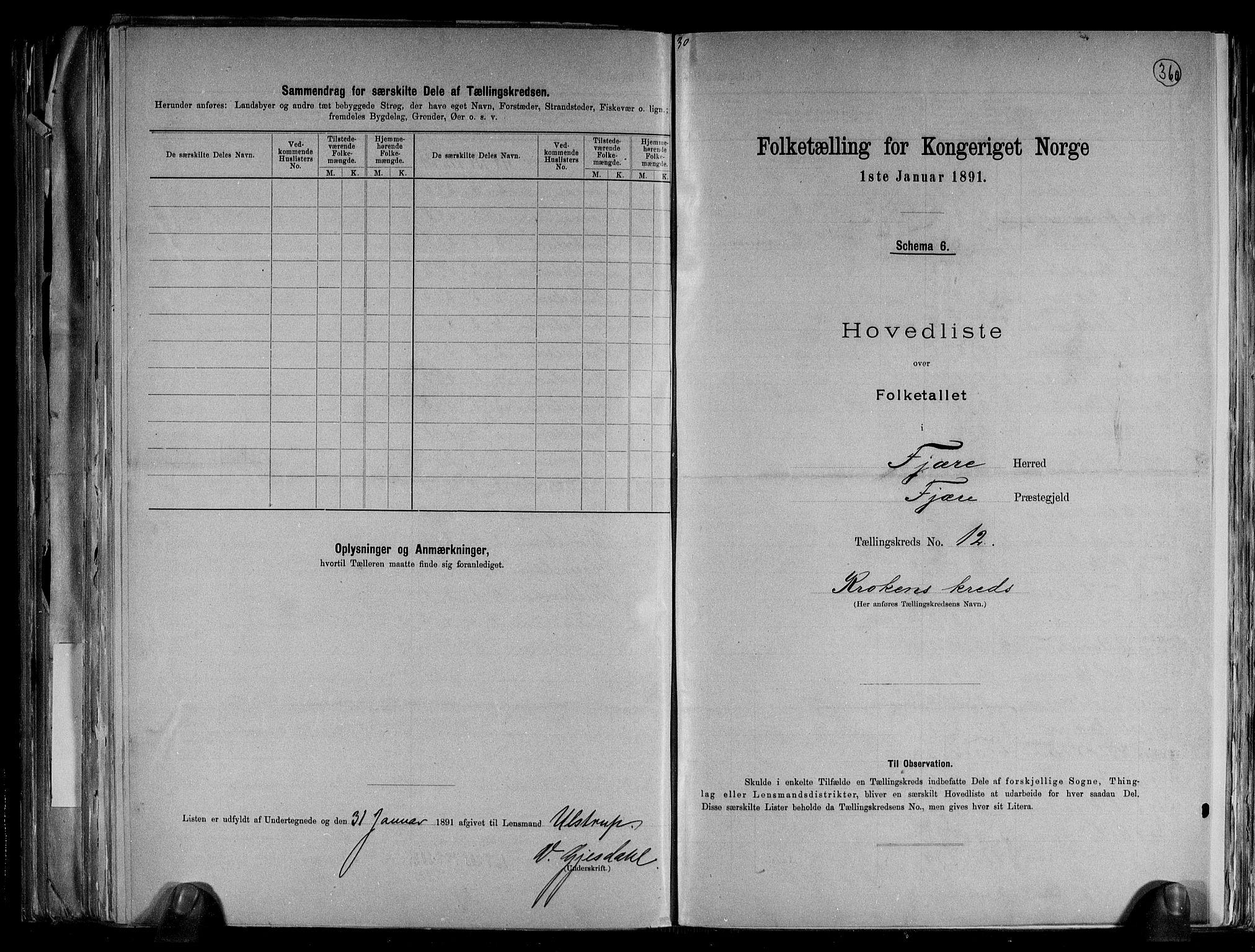RA, Folketelling 1891 for 0923 Fjære herred, 1891, s. 28