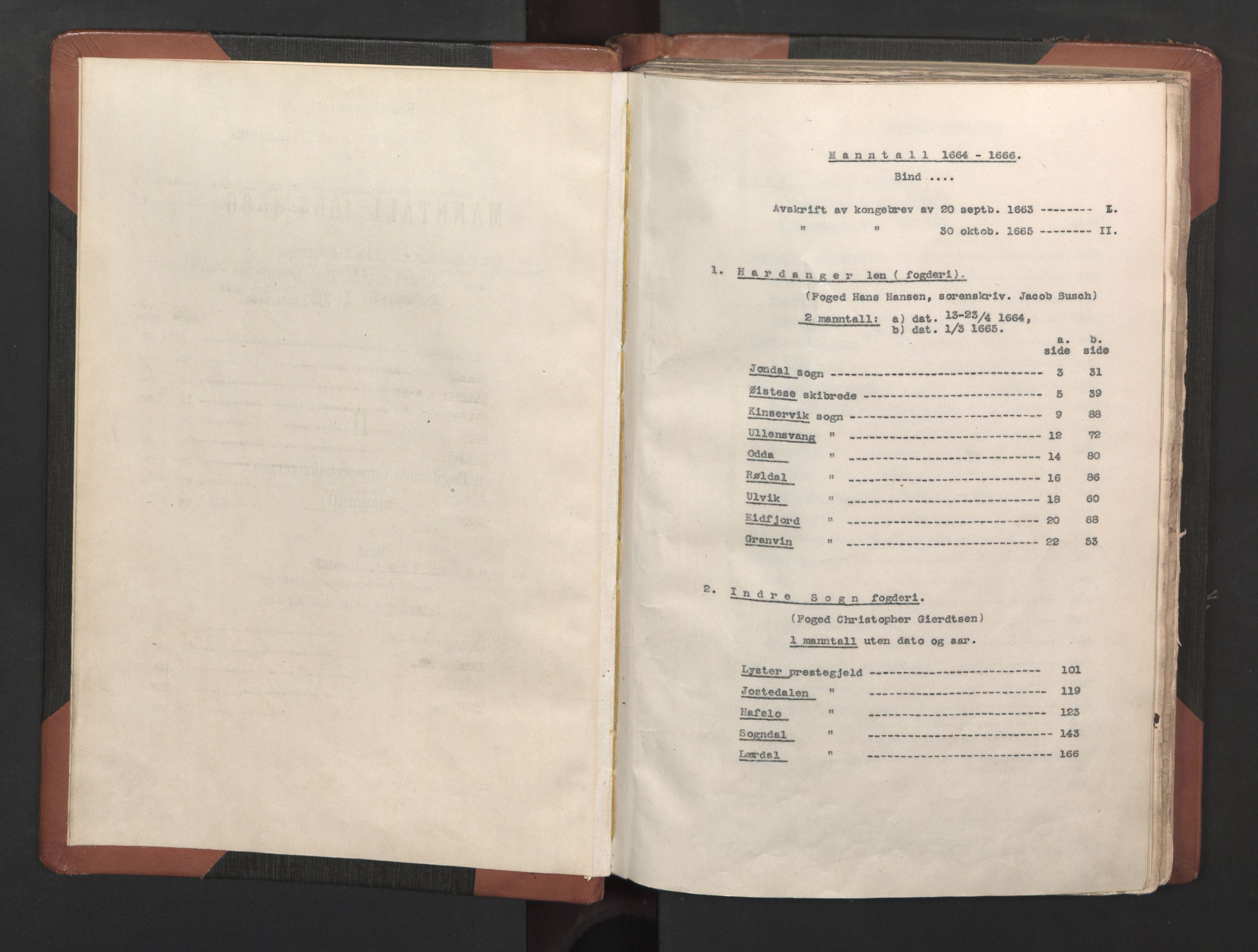 RA, Fogdenes og sorenskrivernes manntall 1664-1666, nr. 14: Hardanger len, Ytre Sogn fogderi og Indre Sogn fogderi, 1664-1665, s. upaginert