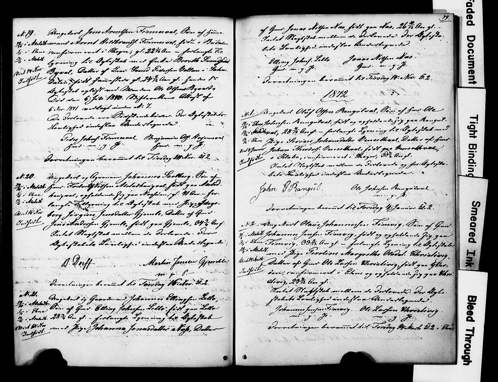 SAT, Ministerialprotokoller, klokkerbøker og fødselsregistre - Nord-Trøndelag, 717/L0161: Forlovererklæringer nr. 717A11, 1850-1895, s. 79