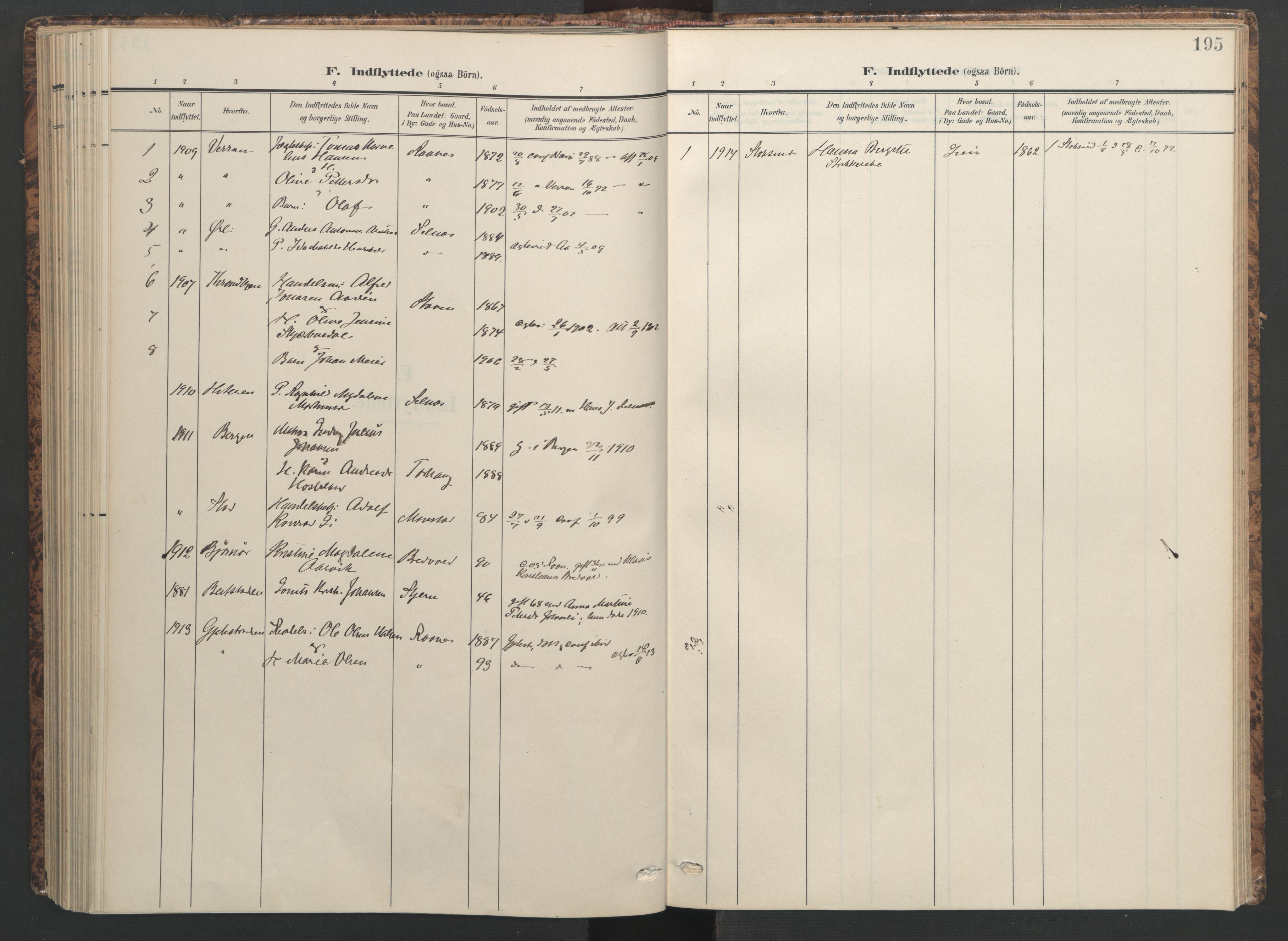 SAT, Ministerialprotokoller, klokkerbøker og fødselsregistre - Sør-Trøndelag, 655/L0682: Ministerialbok nr. 655A11, 1908-1922, s. 195