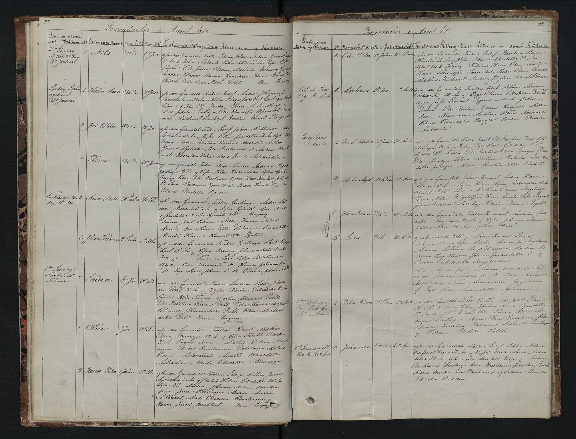 SAH, Vestre Toten prestekontor, Klokkerbok nr. 7, 1872-1900, s. 44-45