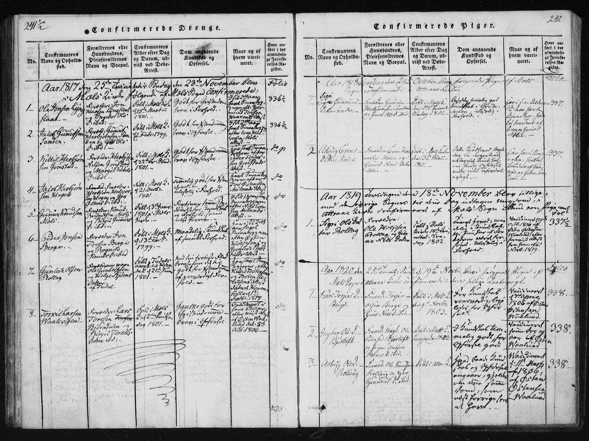 SAKO, Tinn kirkebøker, F/Fb/L0001: Ministerialbok nr. II 1, 1815-1843, s. 242