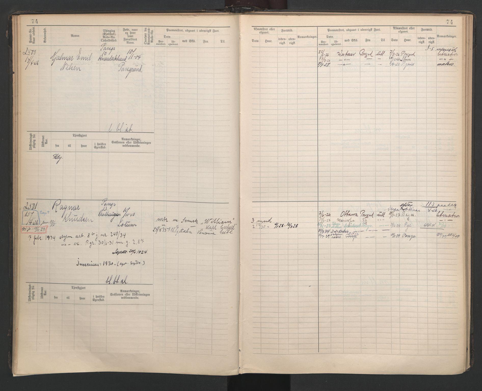 SAKO, Porsgrunn innrulleringskontor, F/Fb/L0007: Annotasjonsrulle, 1926-1948, s. 74