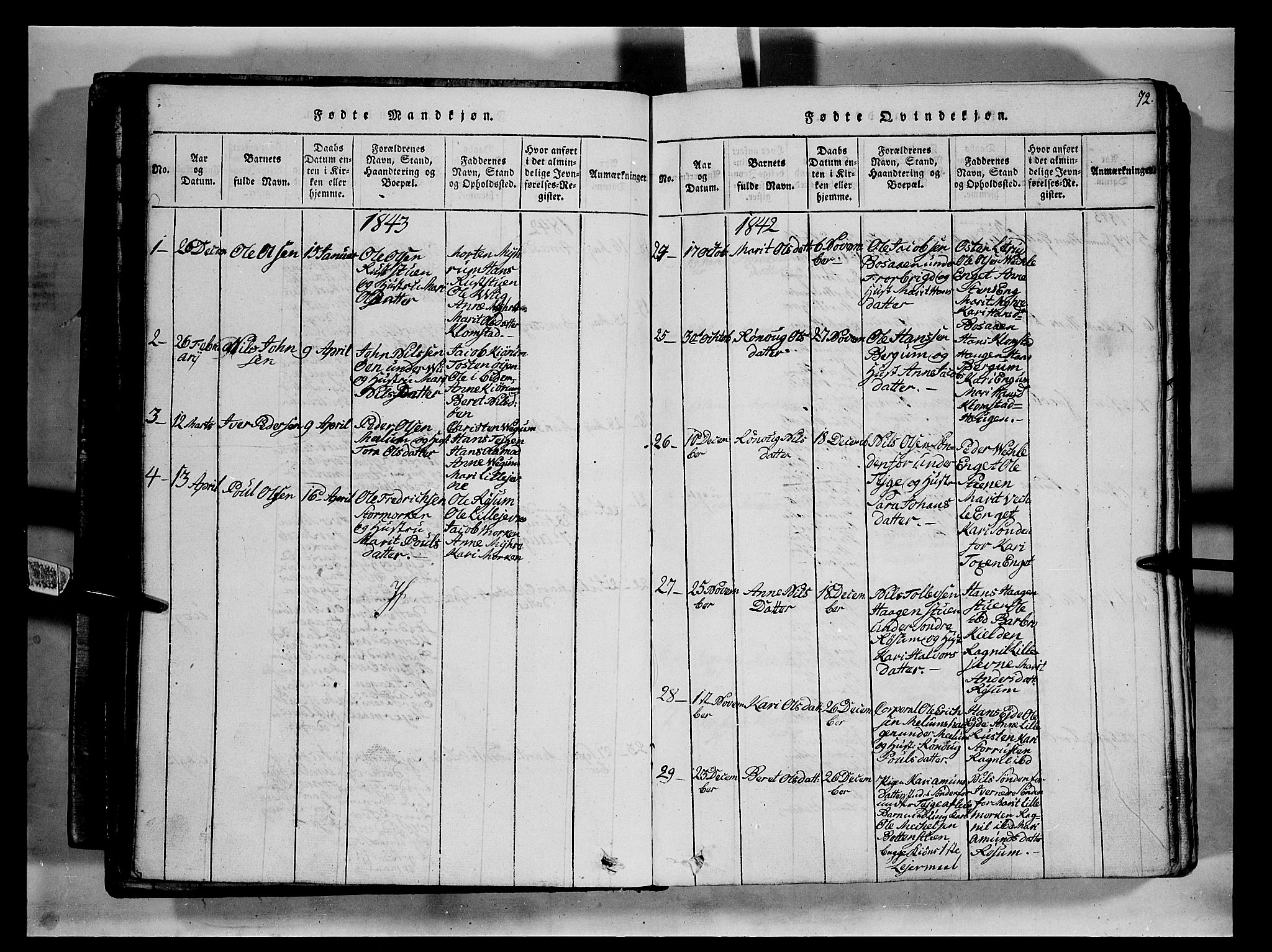 SAH, Fron prestekontor, H/Ha/Hab/L0002: Klokkerbok nr. 2, 1816-1850, s. 72