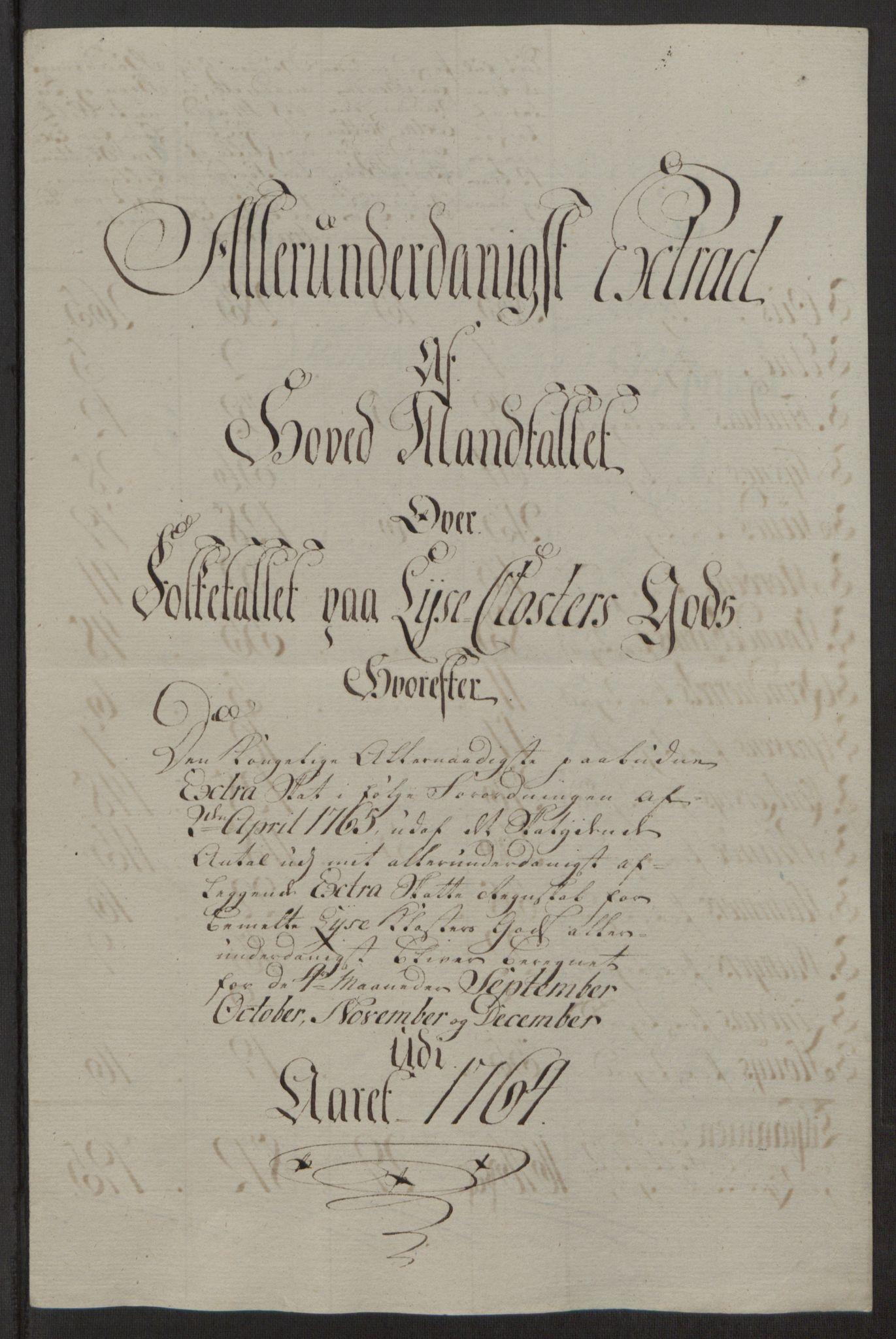 RA, Rentekammeret inntil 1814, Reviderte regnskaper, Fogderegnskap, R50/L3180: Ekstraskatten Lyse kloster, 1762-1783, s. 108