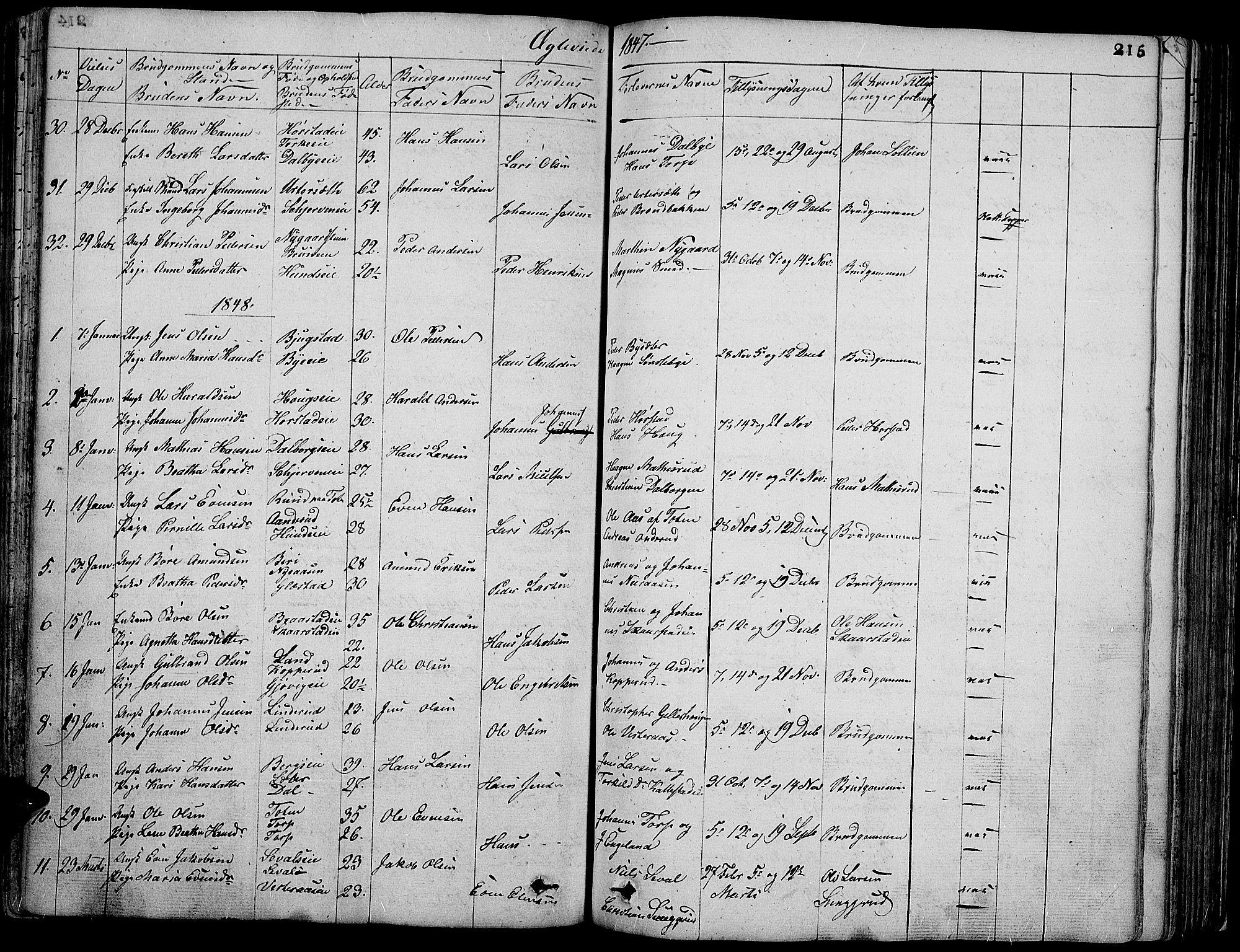 SAH, Vardal prestekontor, H/Ha/Hab/L0004: Klokkerbok nr. 4, 1831-1853, s. 215