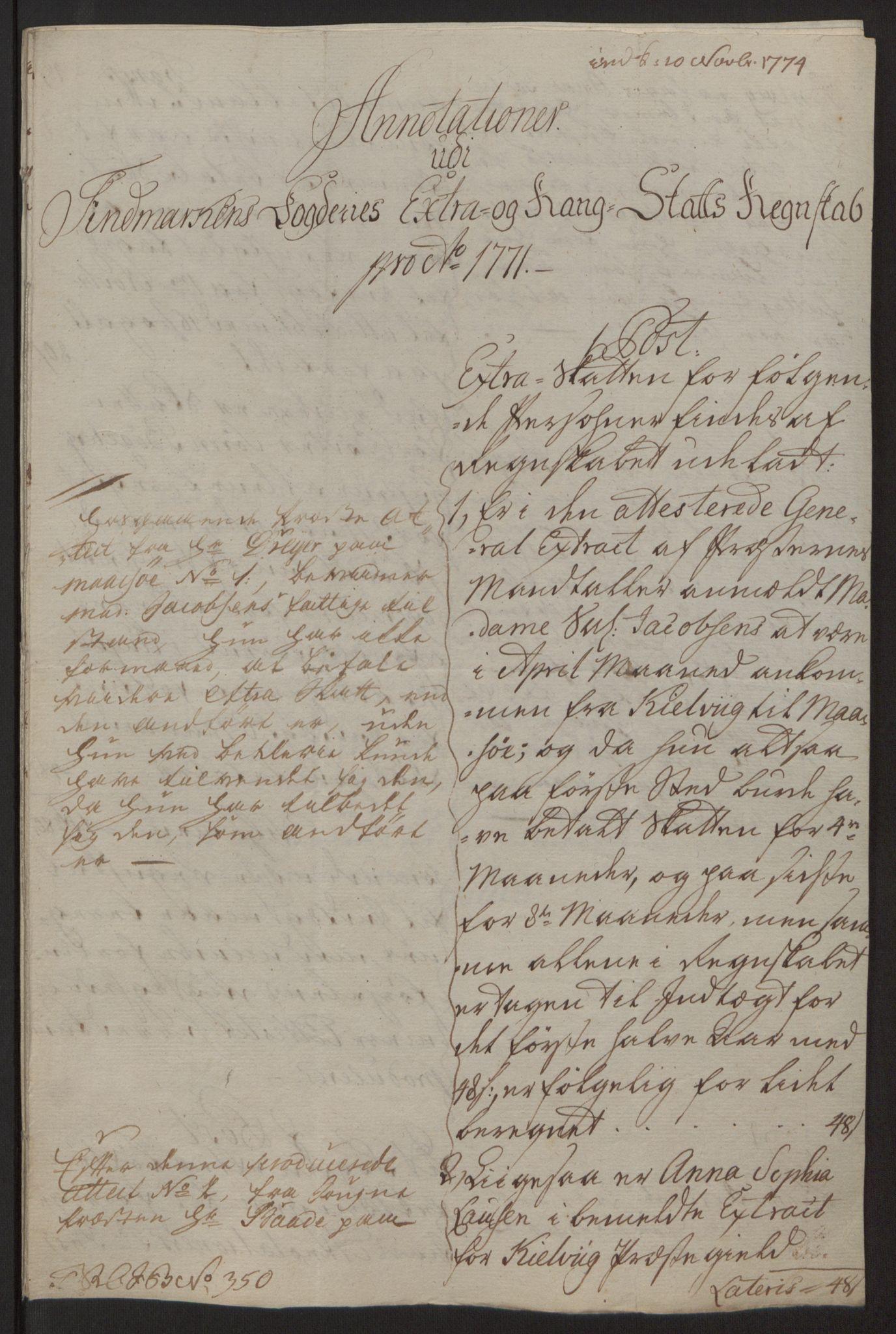 RA, Rentekammeret inntil 1814, Reviderte regnskaper, Fogderegnskap, R69/L4910: Ekstraskatten  Finnmark/Vardøhus, 1762-1772, s. 473