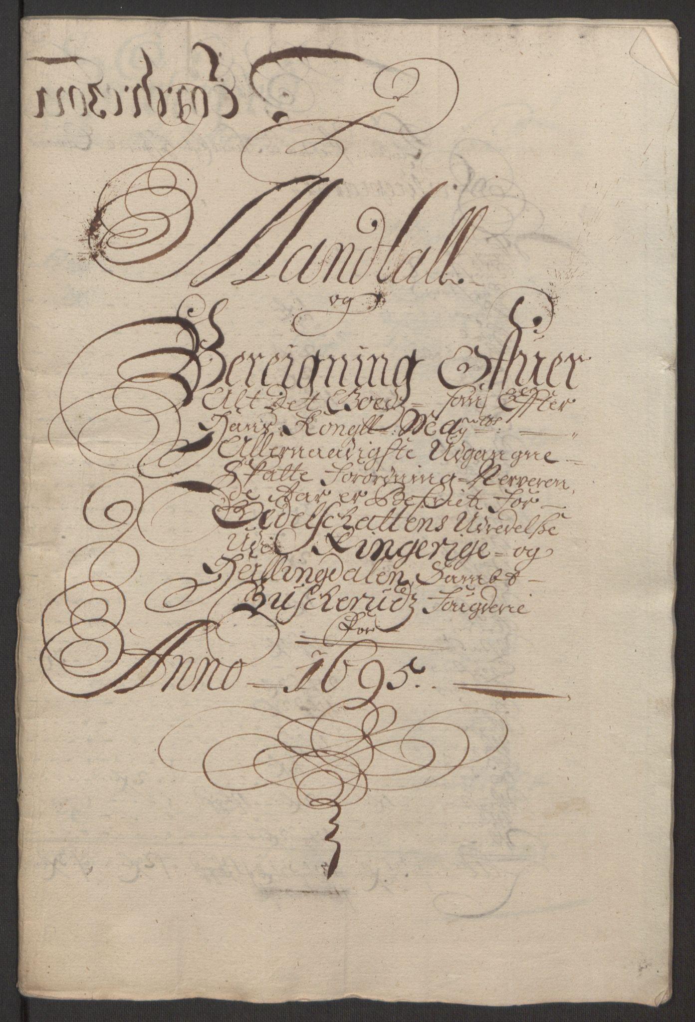 RA, Rentekammeret inntil 1814, Reviderte regnskaper, Fogderegnskap, R22/L1452: Fogderegnskap Ringerike, Hallingdal og Buskerud, 1695, s. 294