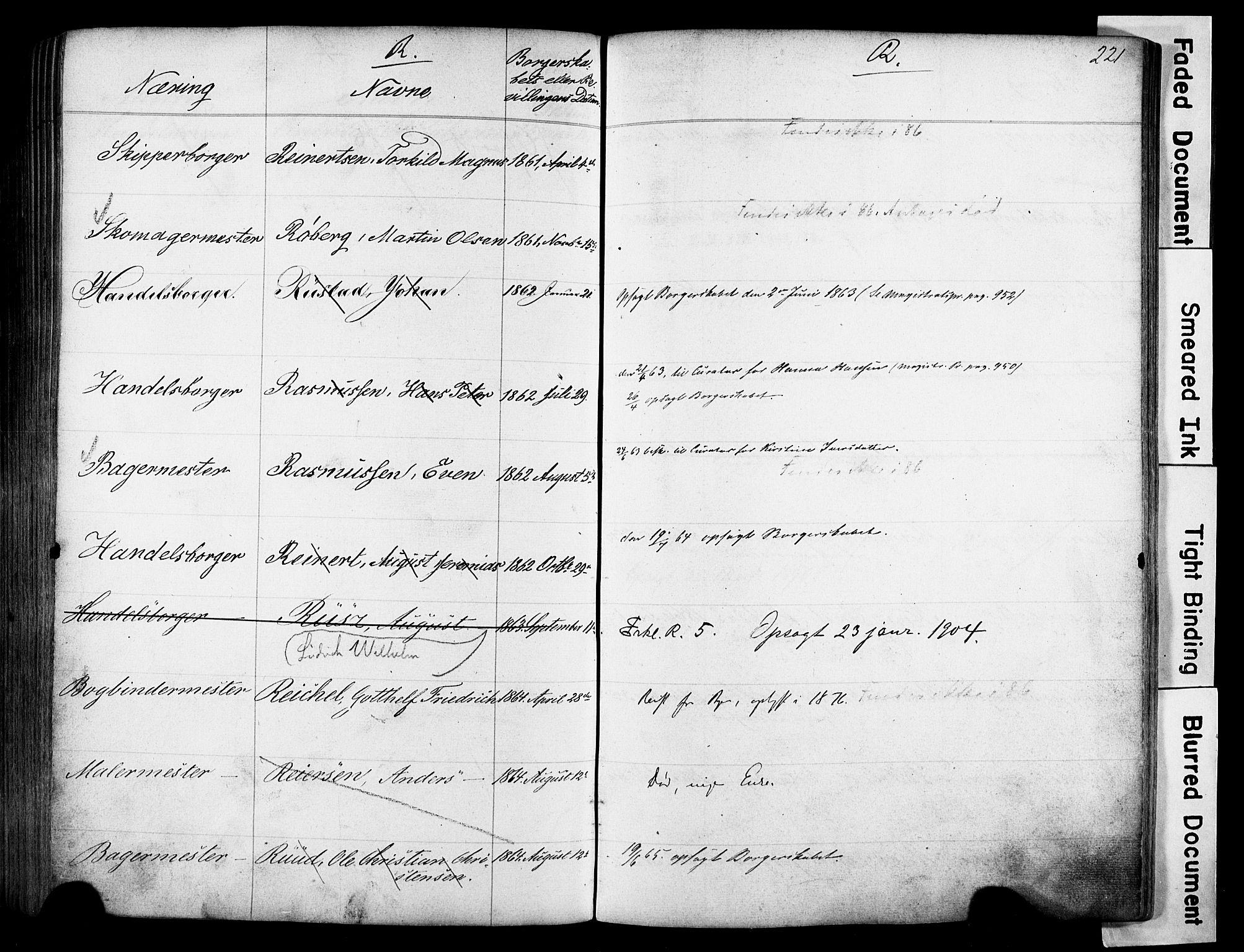SAO, Kristiania magistrat, F/Fb/L0004: Borgerrulle, 1860-1879, s. 223