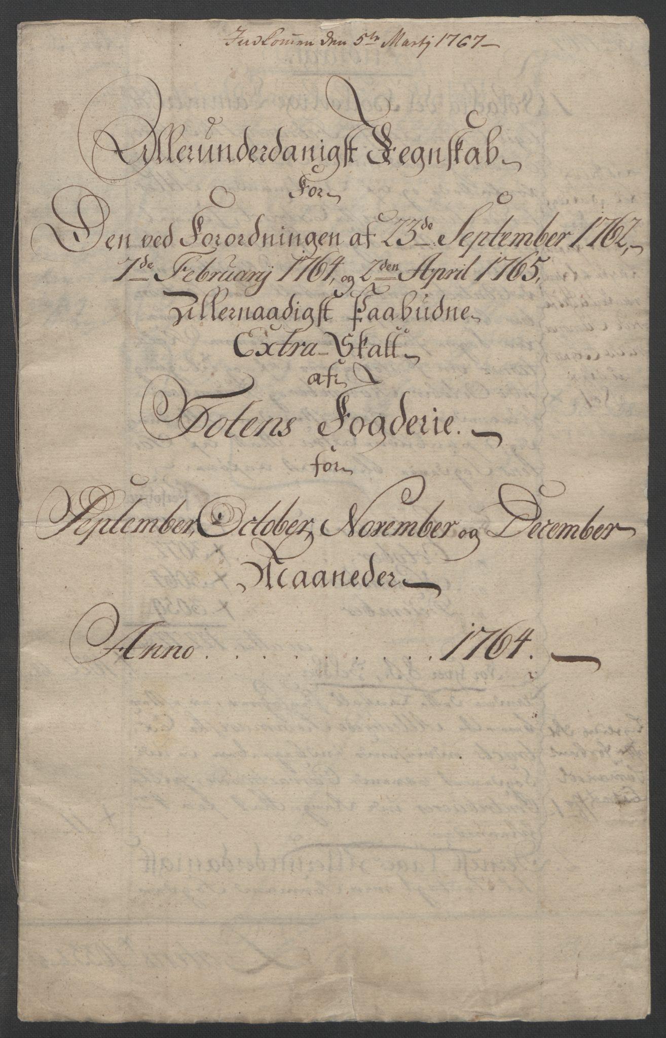 RA, Rentekammeret inntil 1814, Reviderte regnskaper, Fogderegnskap, R19/L1399: Fogderegnskap Toten, Hadeland og Vardal, 1762-1783, s. 75