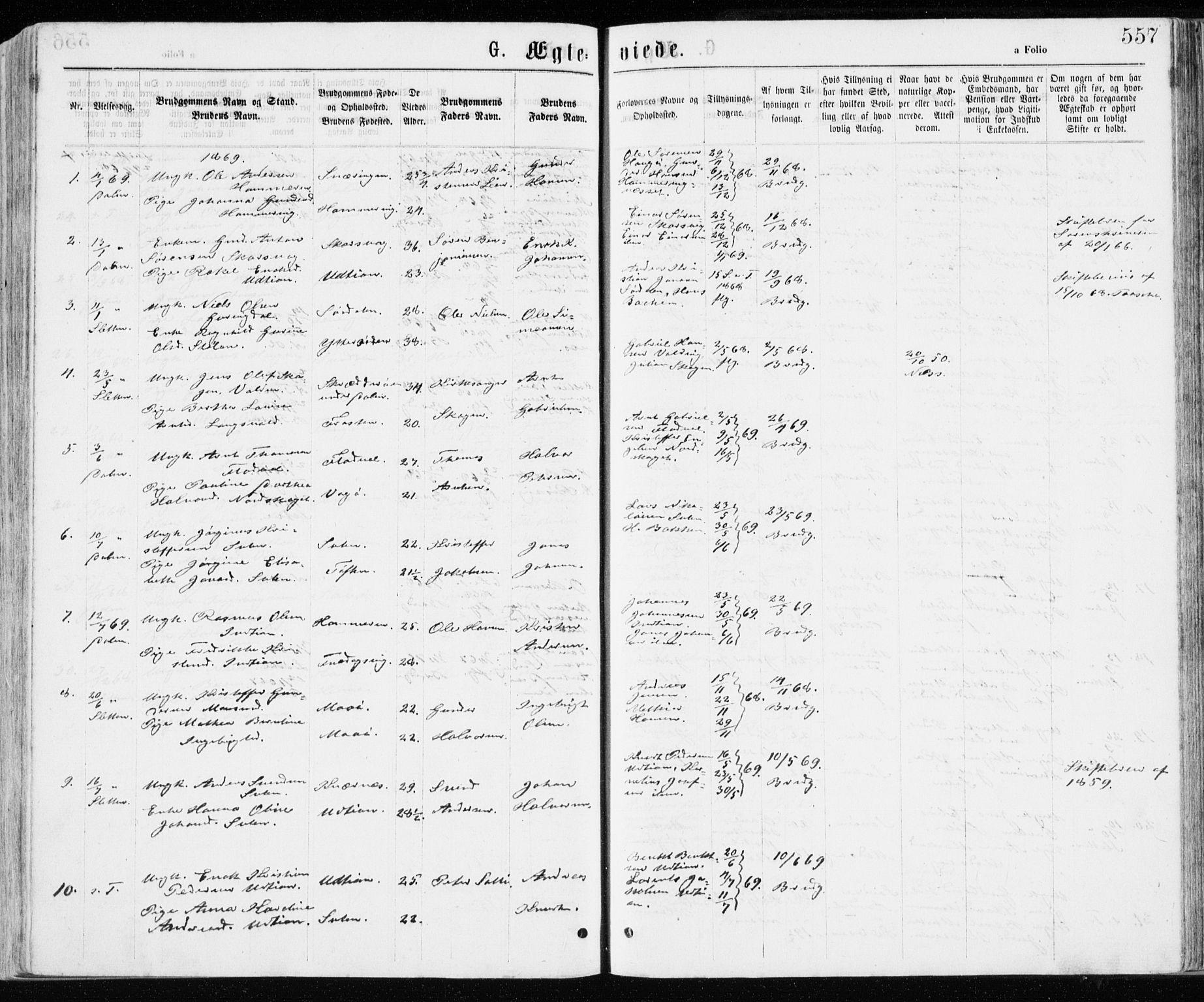 SAT, Ministerialprotokoller, klokkerbøker og fødselsregistre - Sør-Trøndelag, 640/L0576: Ministerialbok nr. 640A01, 1846-1876, s. 557