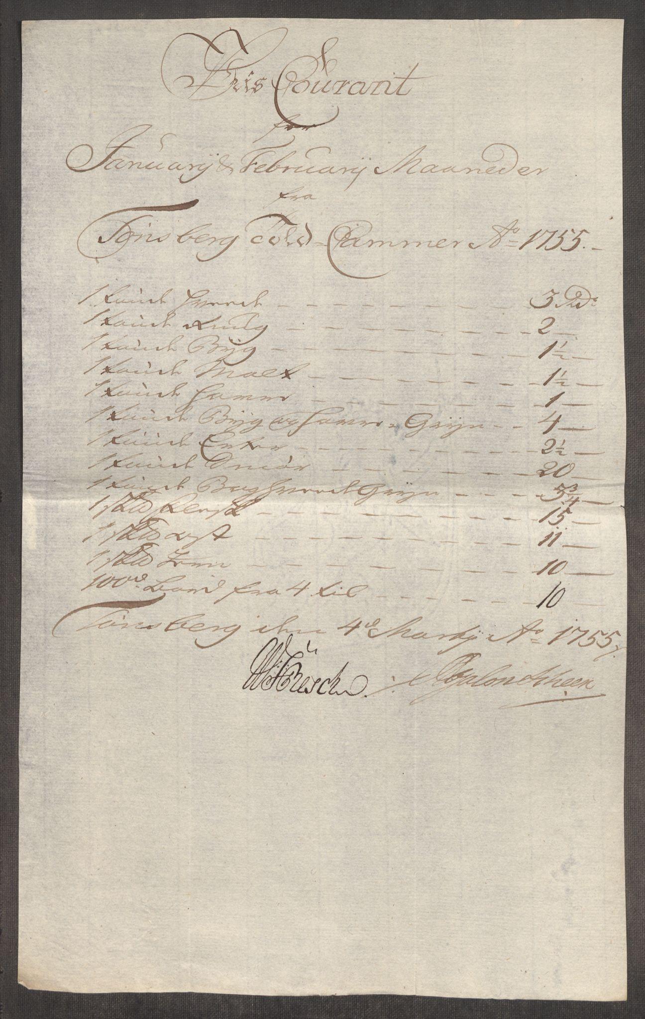 RA, Rentekammeret inntil 1814, Realistisk ordnet avdeling, Oe/L0005: [Ø1]: Priskuranter, 1753-1757, s. 468