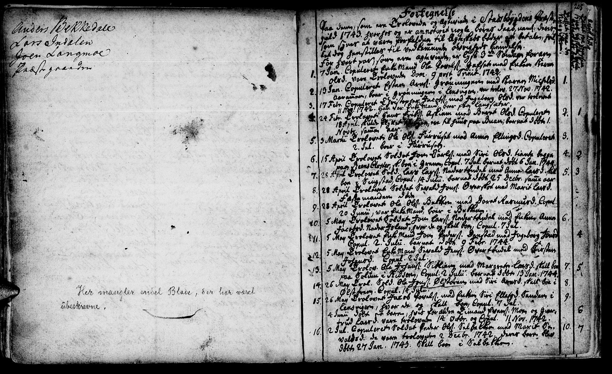 SAT, Ministerialprotokoller, klokkerbøker og fødselsregistre - Sør-Trøndelag, 646/L0604: Ministerialbok nr. 646A02, 1735-1750, s. 204-205