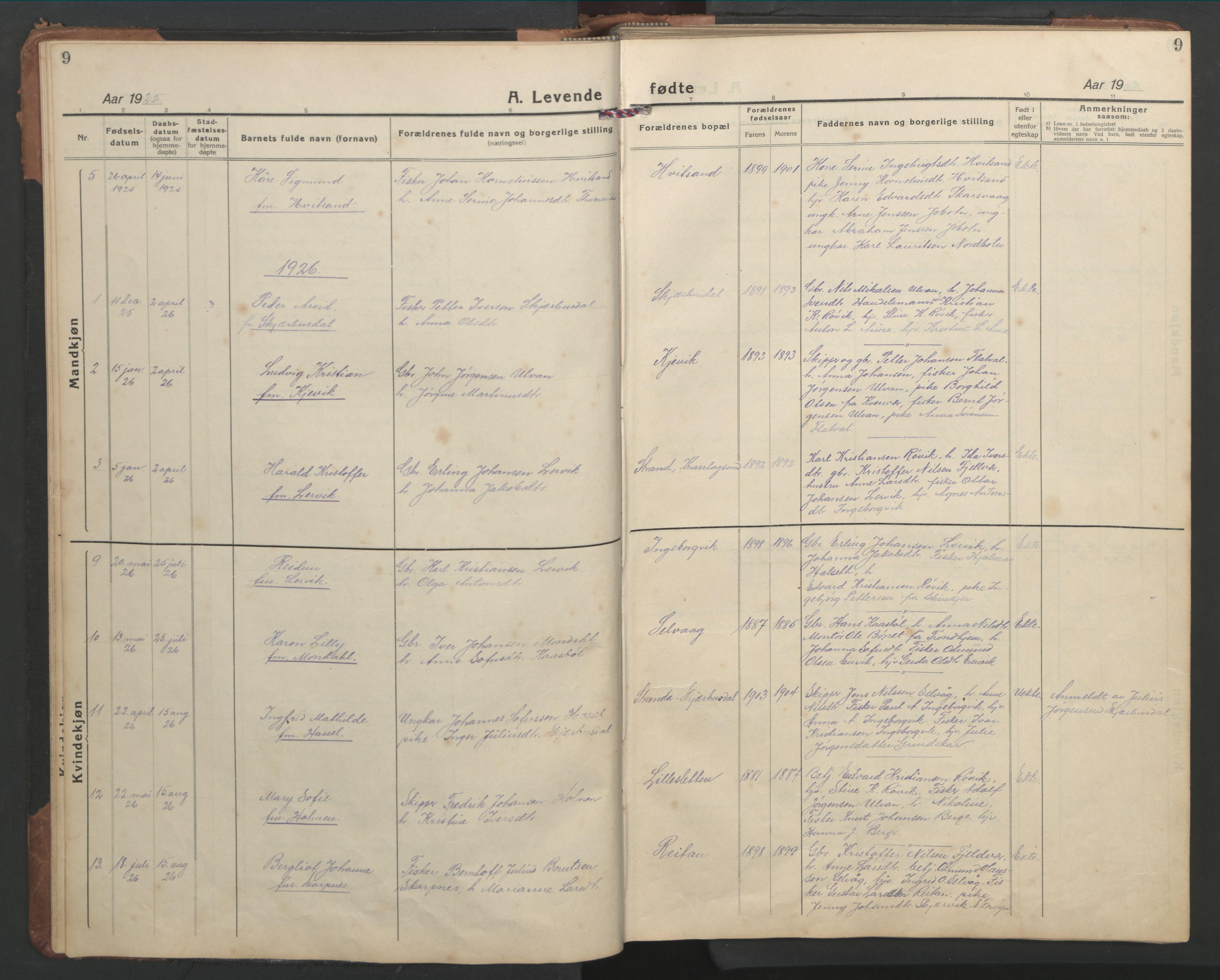 SAT, Ministerialprotokoller, klokkerbøker og fødselsregistre - Sør-Trøndelag, 638/L0569: Klokkerbok nr. 638C01, 1923-1961, s. 9