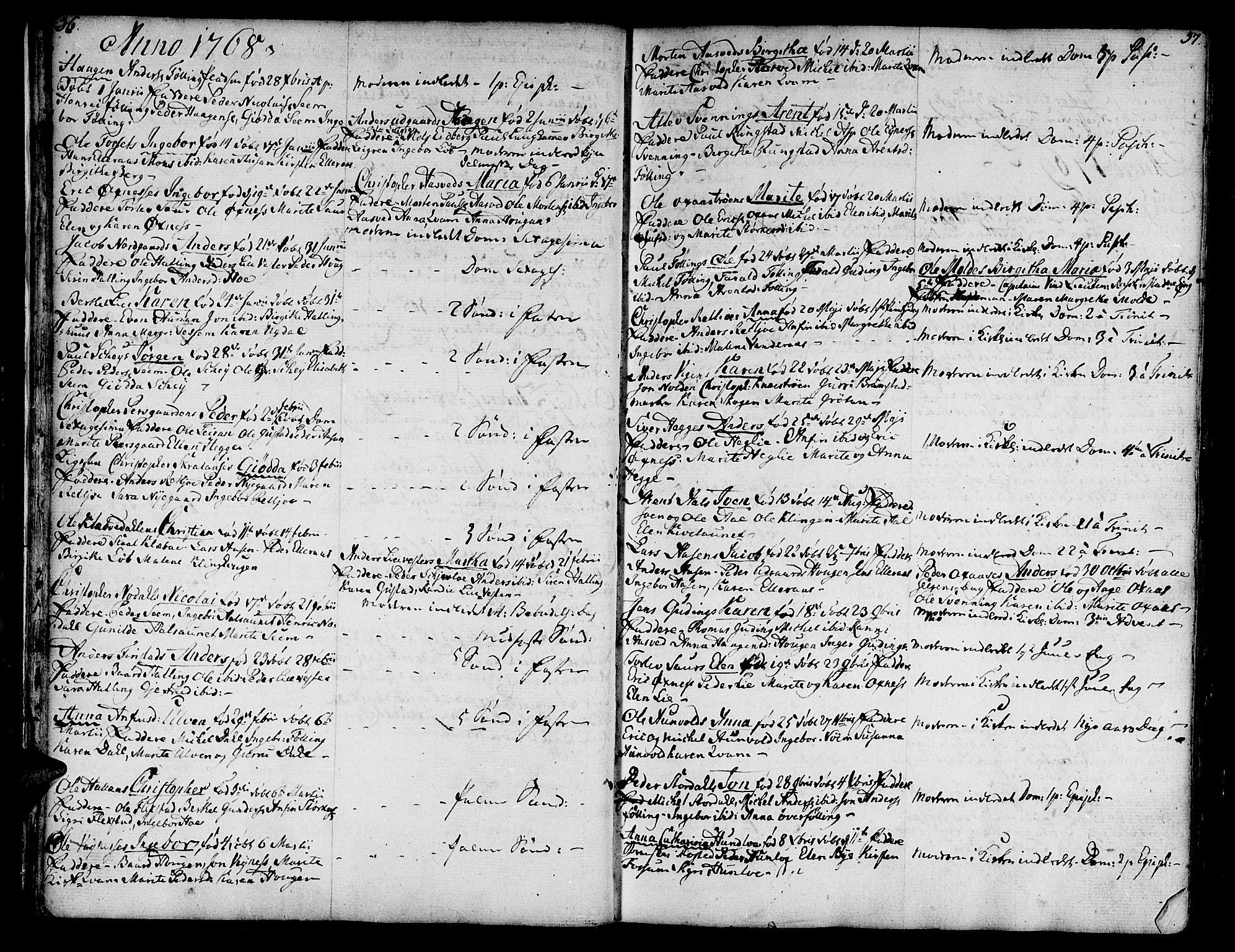 SAT, Ministerialprotokoller, klokkerbøker og fødselsregistre - Nord-Trøndelag, 746/L0440: Ministerialbok nr. 746A02, 1760-1815, s. 36-37