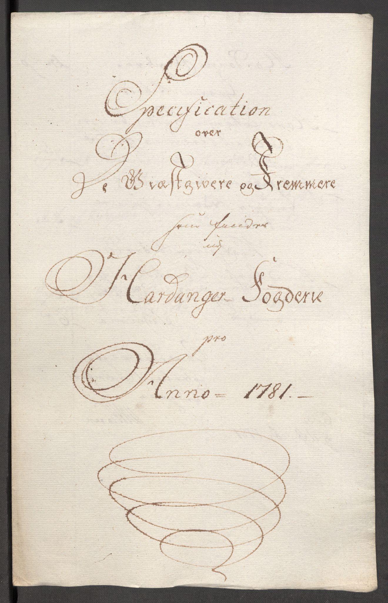 RA, Rentekammeret inntil 1814, Reviderte regnskaper, Fogderegnskap, R48/L3097: Fogderegnskap Sunnhordland og Hardanger, 1781, s. 232