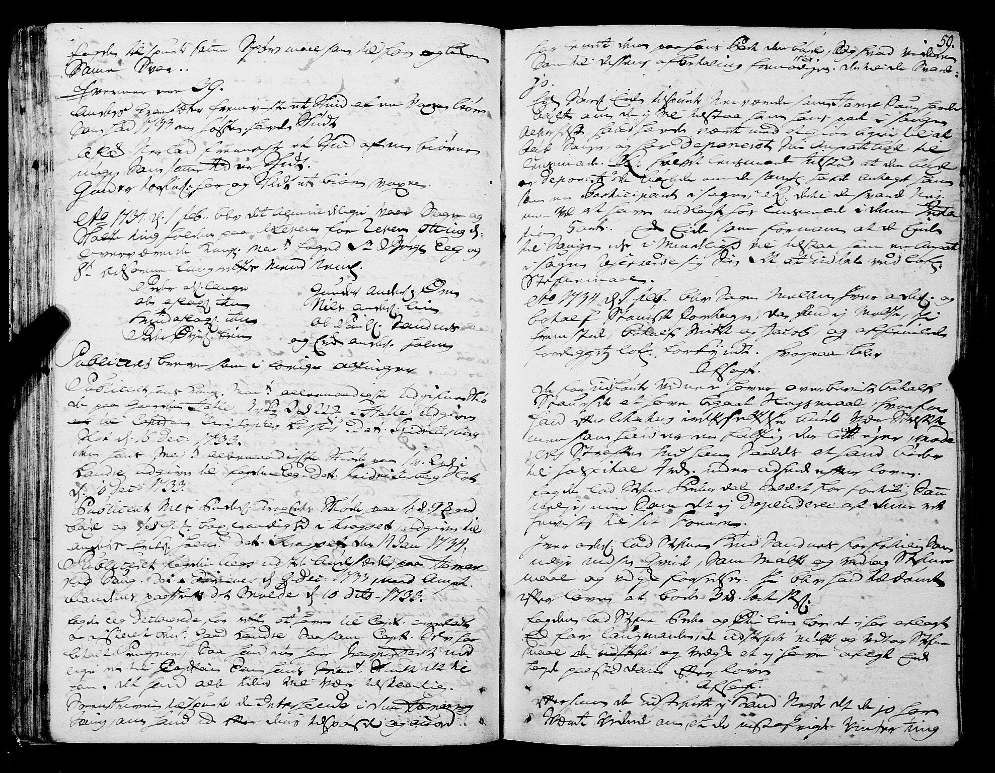 SAT, Romsdal sorenskriveri, 1/1A/L0011: Tingbok, 1732-1740, s. 58b-59a