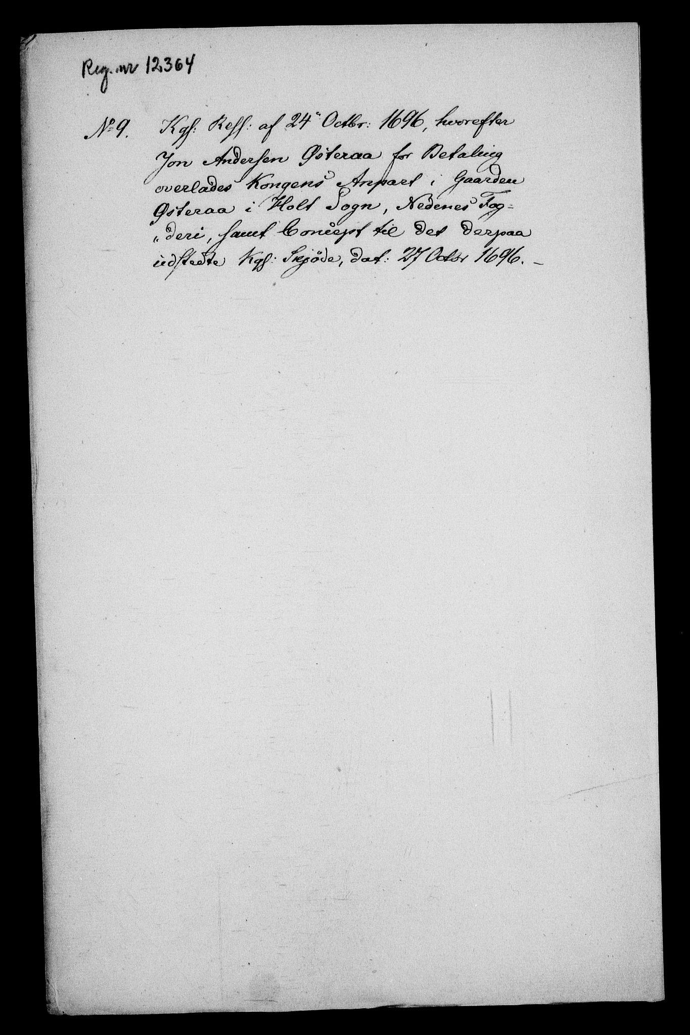 RA, Rentekammeret inntil 1814, Realistisk ordnet avdeling, On/L0013: [Jj 14]: Forskjellige dokumenter om krongodset i Norge, 1672-1722, s. 299