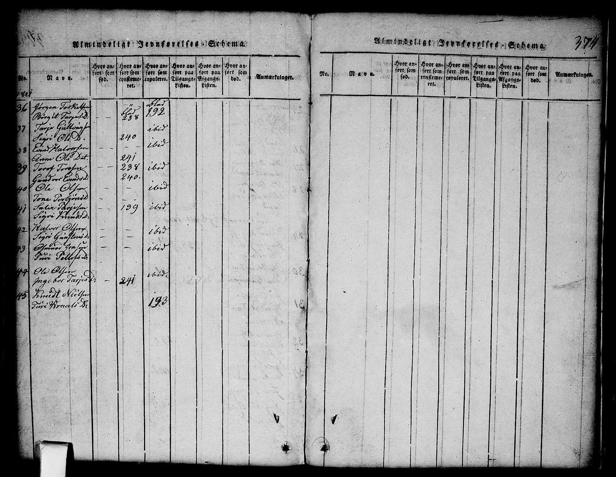 SAKO, Nissedal kirkebøker, G/Gb/L0001: Klokkerbok nr. II 1, 1814-1862, s. 374