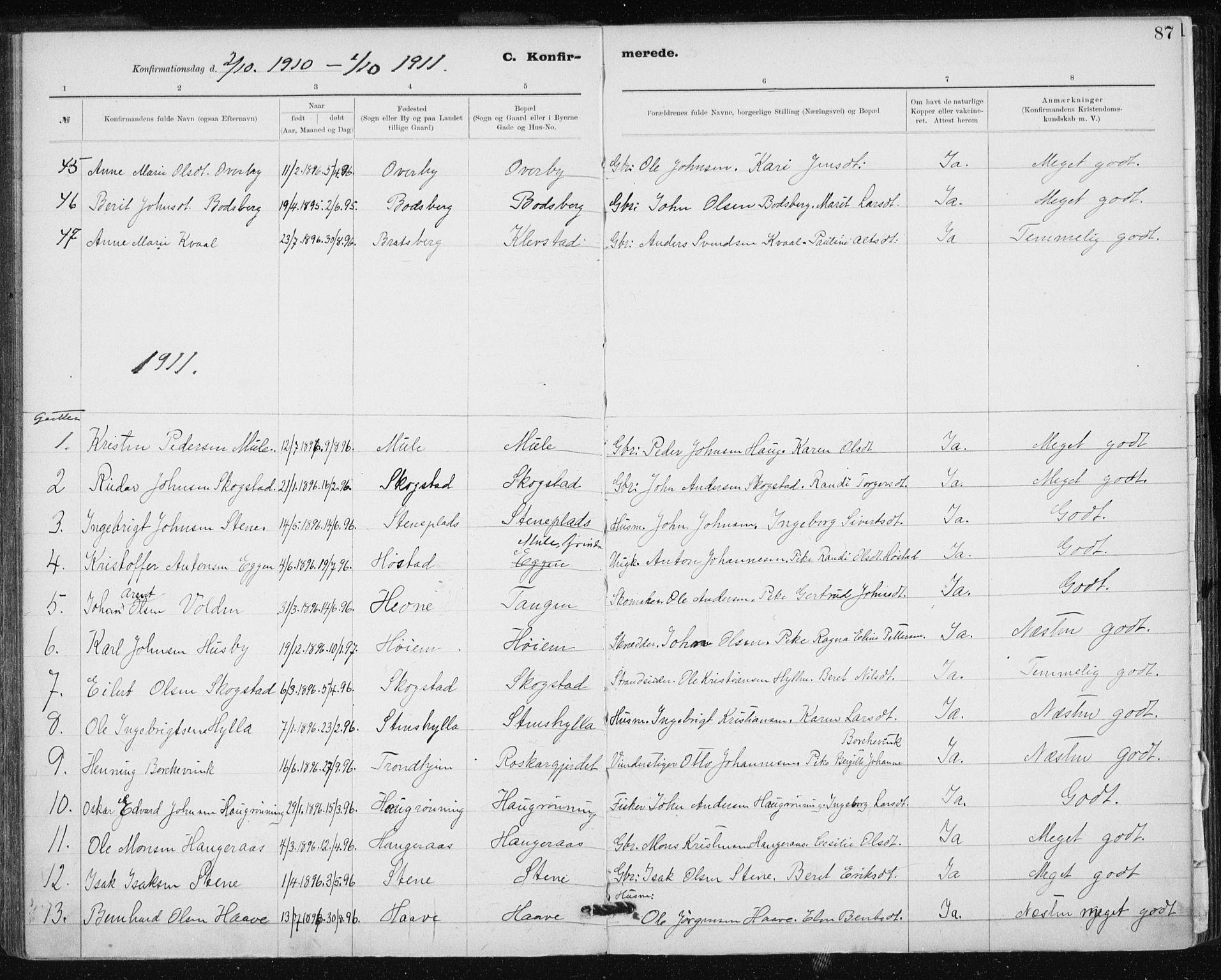 SAT, Ministerialprotokoller, klokkerbøker og fødselsregistre - Sør-Trøndelag, 612/L0381: Ministerialbok nr. 612A13, 1907-1923, s. 87