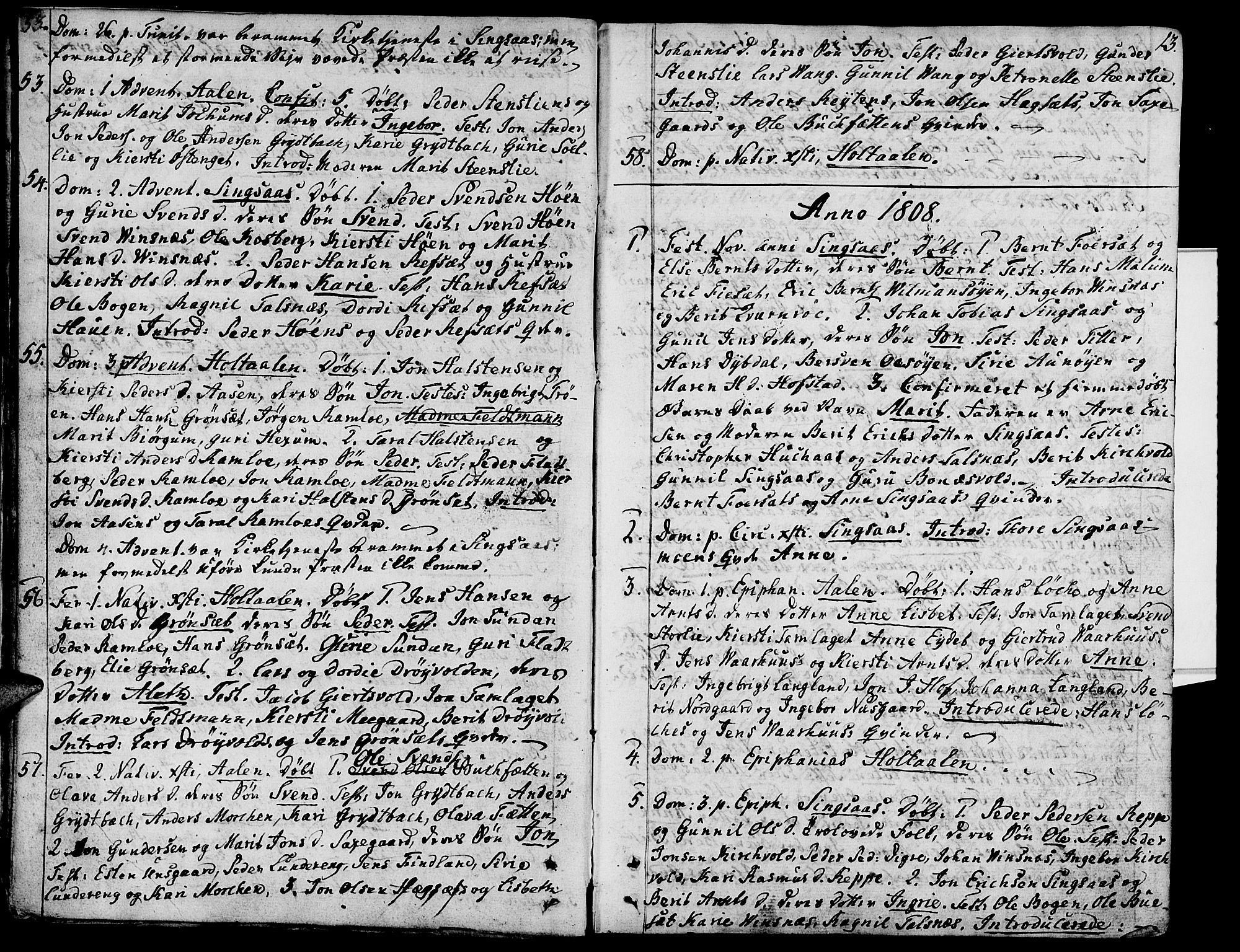 SAT, Ministerialprotokoller, klokkerbøker og fødselsregistre - Sør-Trøndelag, 685/L0953: Ministerialbok nr. 685A02, 1805-1816, s. 13