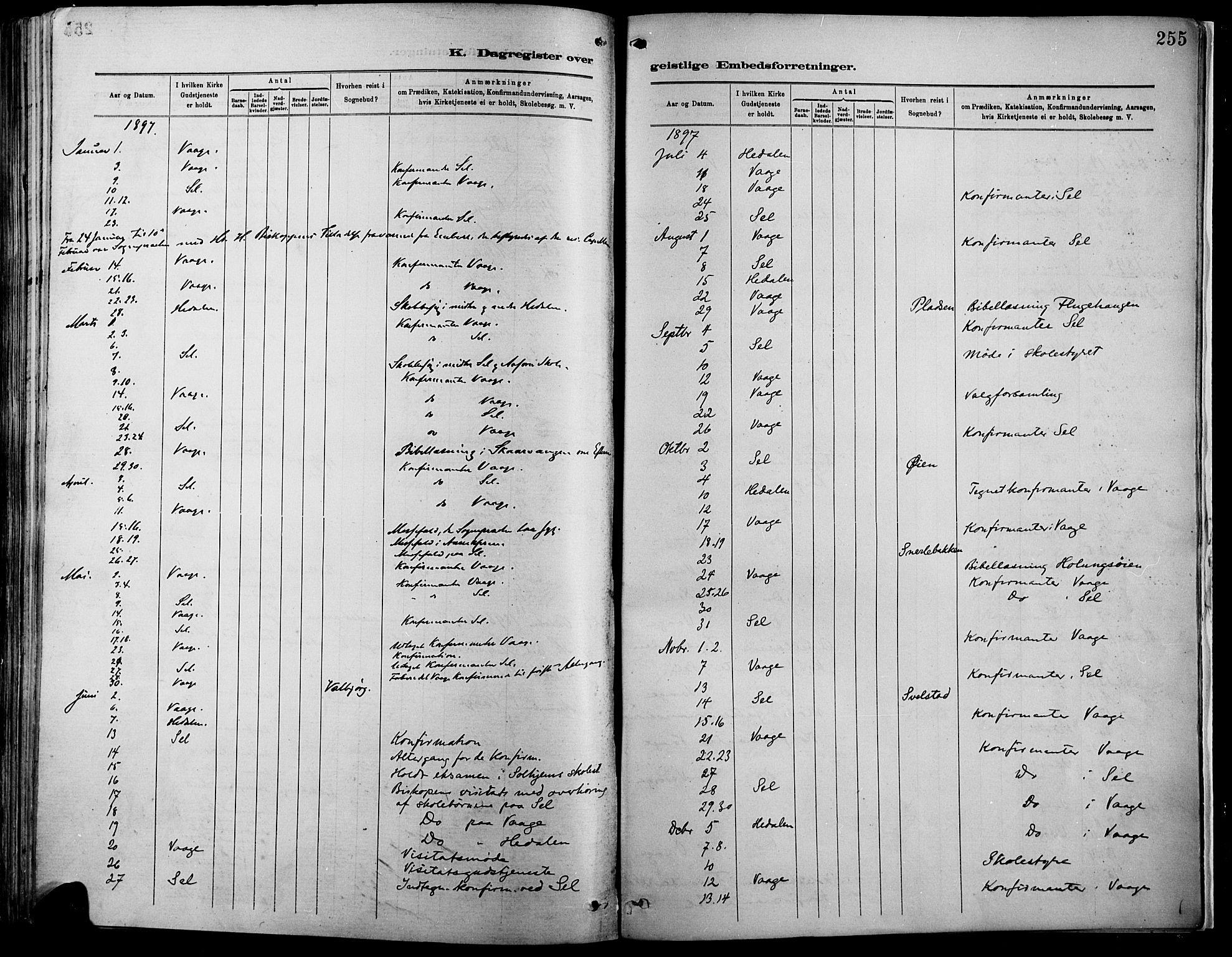 SAH, Vågå prestekontor, Ministerialbok nr. 9, 1886-1904, s. 255