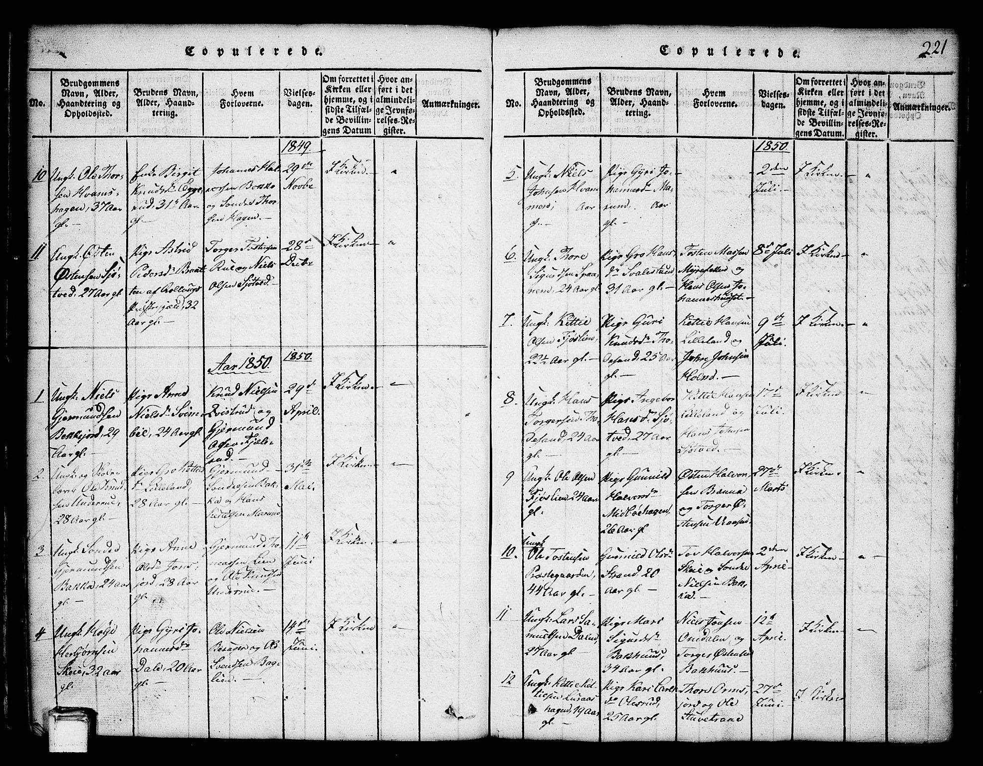 SAKO, Tinn kirkebøker, G/Ga/L0001: Klokkerbok nr. I 1, 1815-1850, s. 221